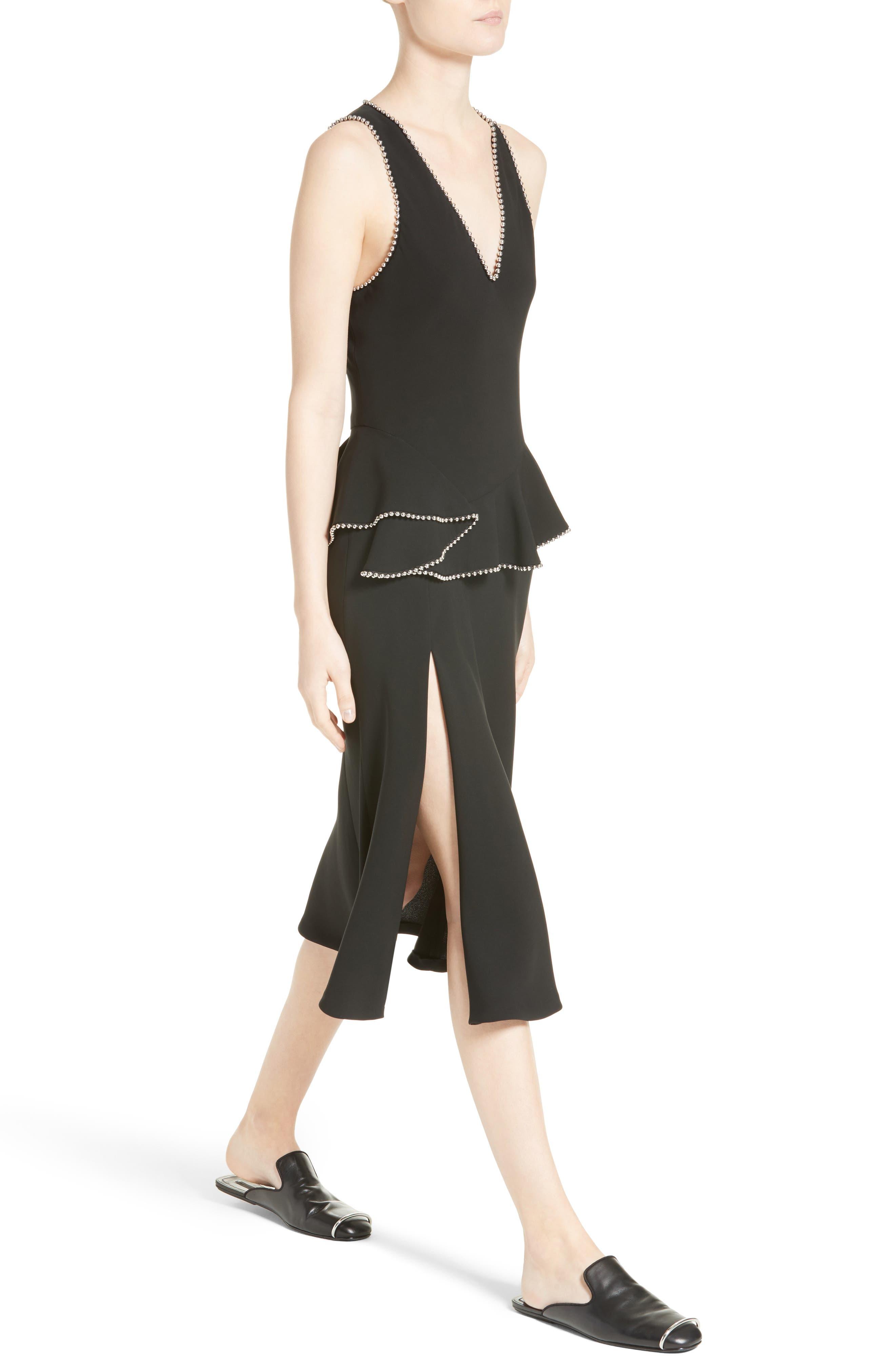 Chain Trim Silk Ruffle Dress,                             Alternate thumbnail 6, color,                             Onyx