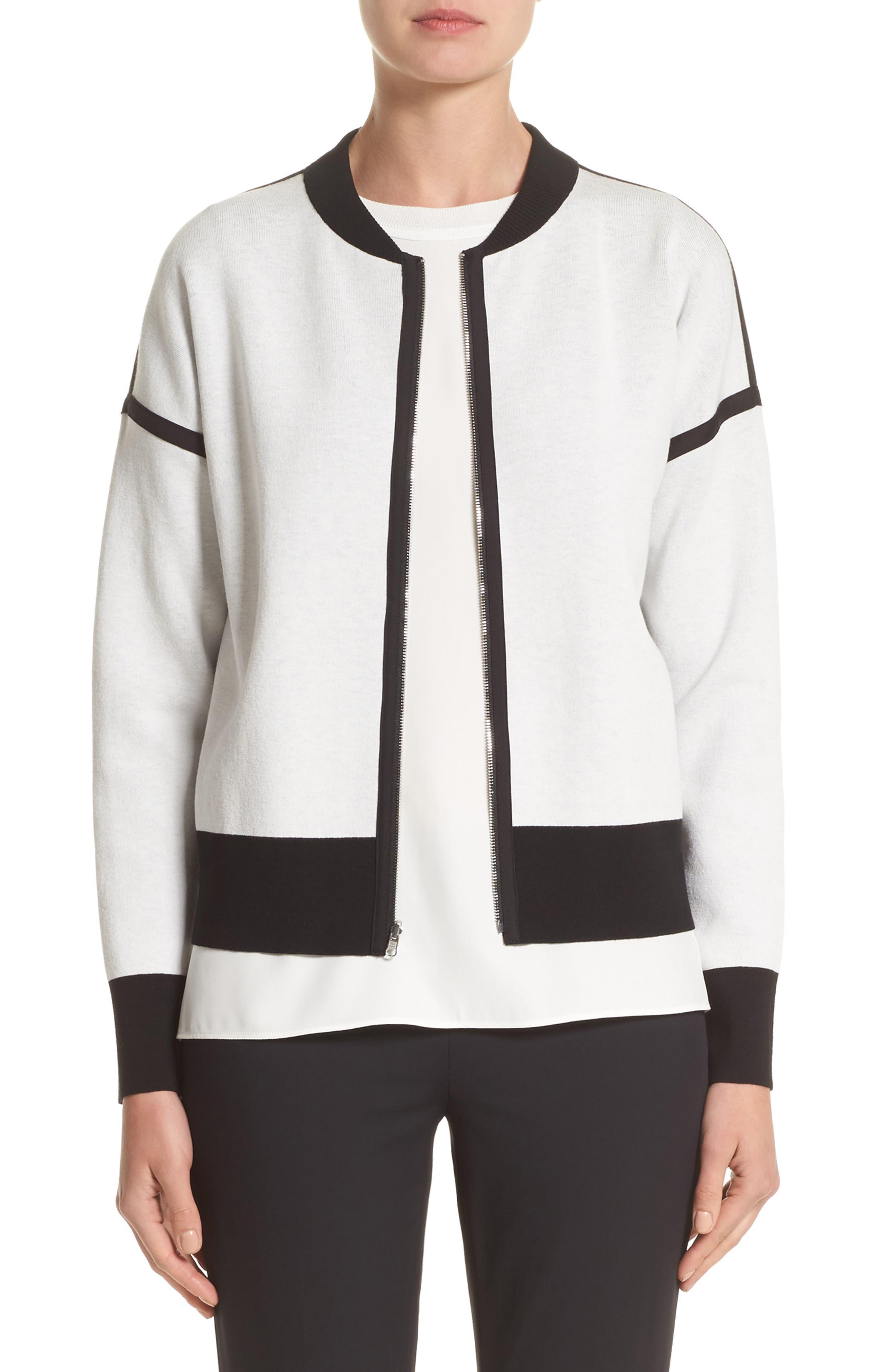 Matte Crepe Reversible Knit Bomber Jacket,                             Main thumbnail 1, color,                             Cloud / Black