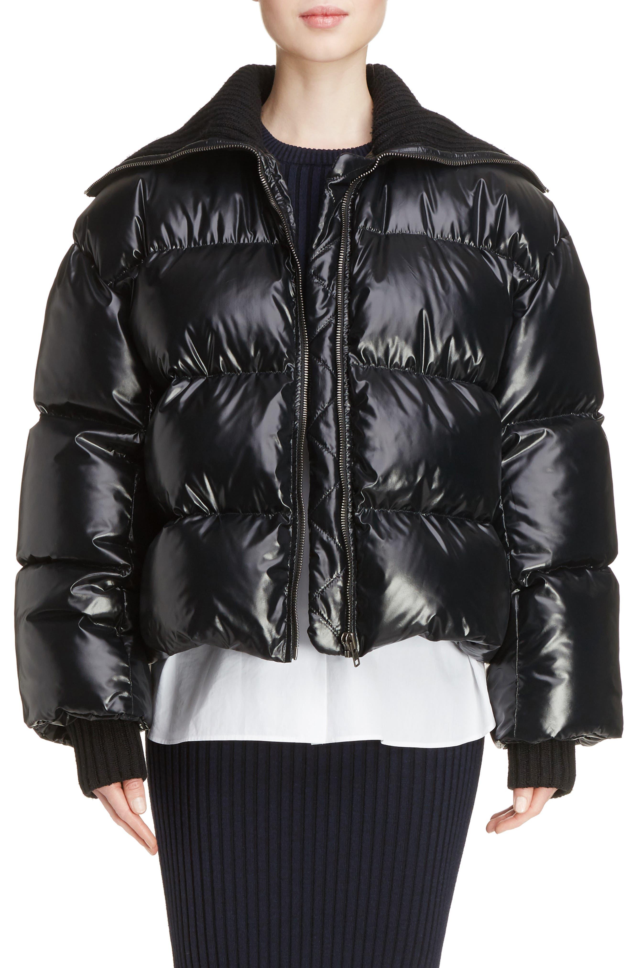 Crop Down Puffer Jacket,                         Main,                         color, Black
