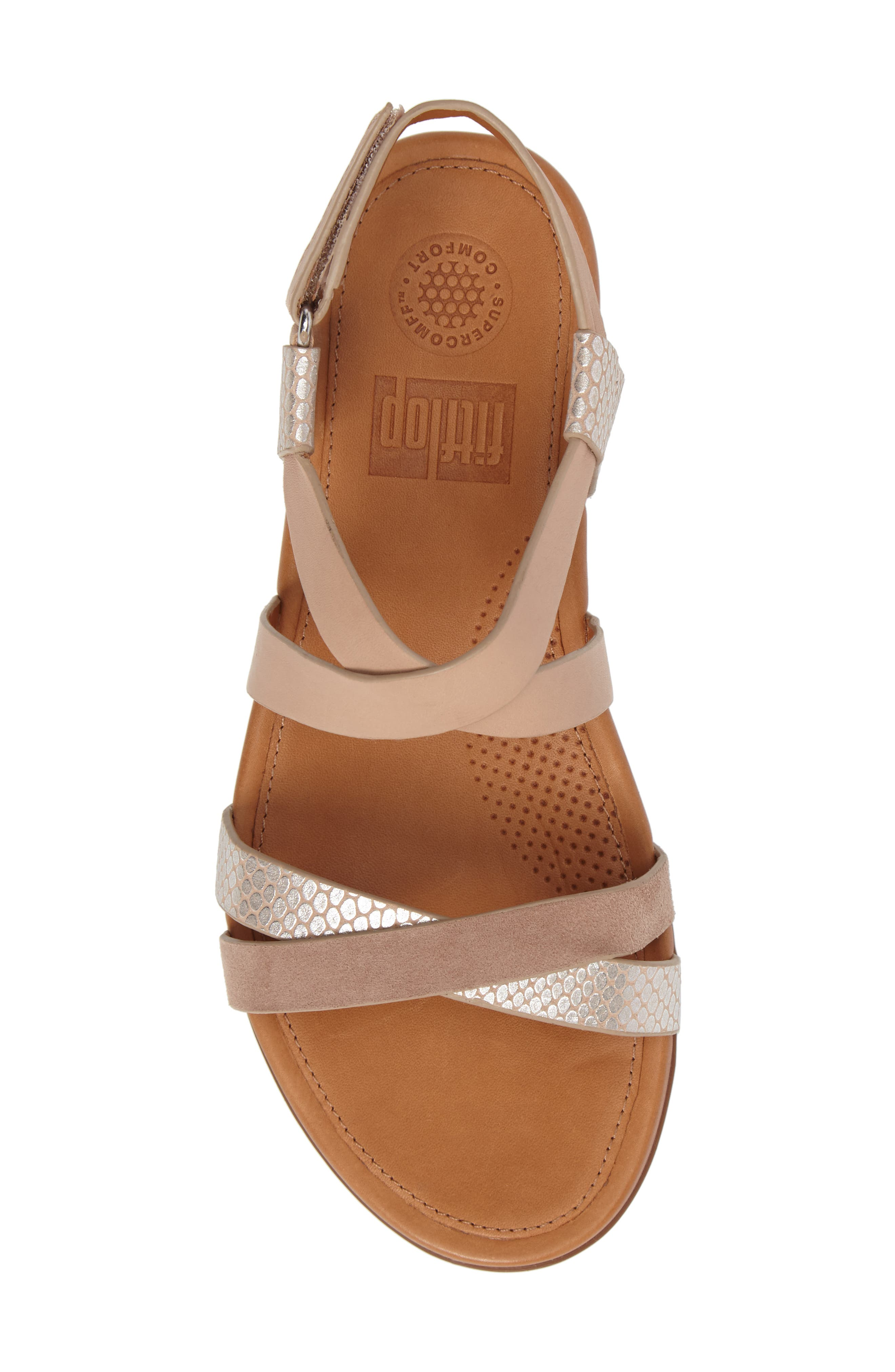 Lumy Crisscross Sandal,                             Alternate thumbnail 5, color,                             Peachy/ Silver Snake Suede