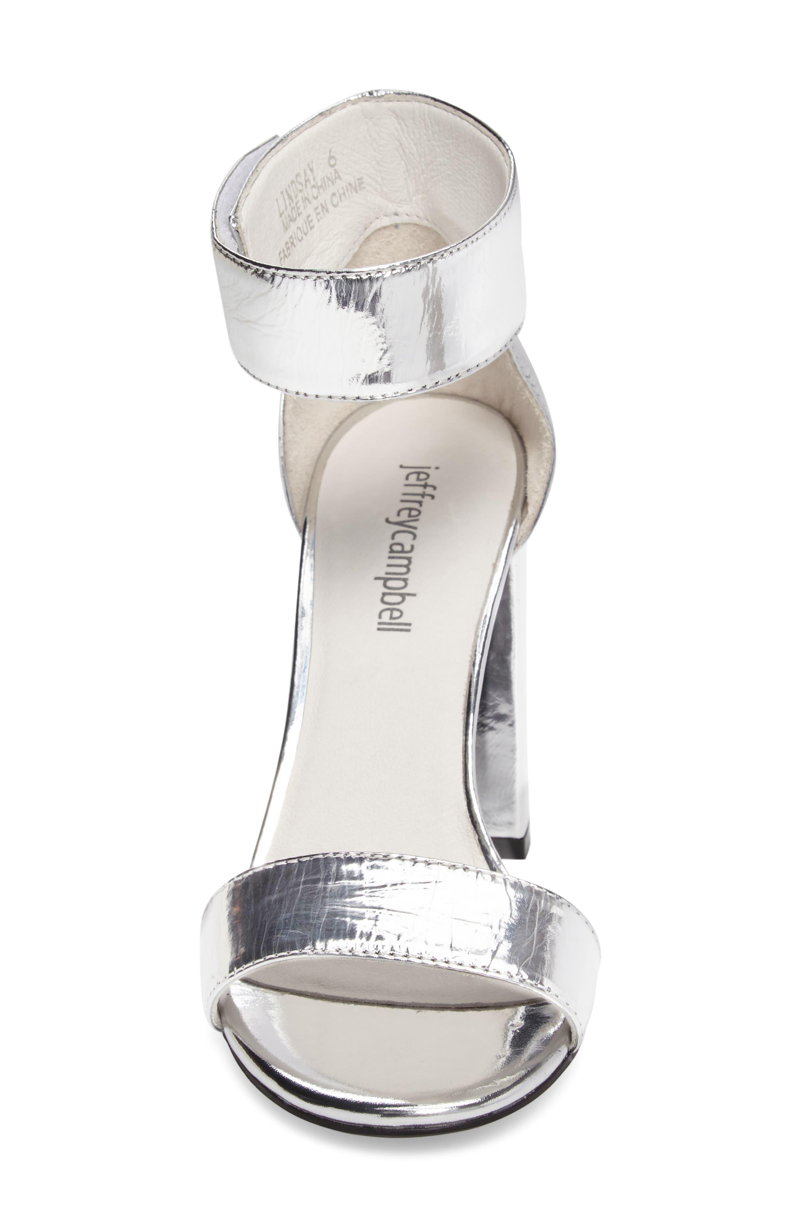 'Lindsay' Ankle Strap Sandal,                             Alternate thumbnail 4, color,                             Silver