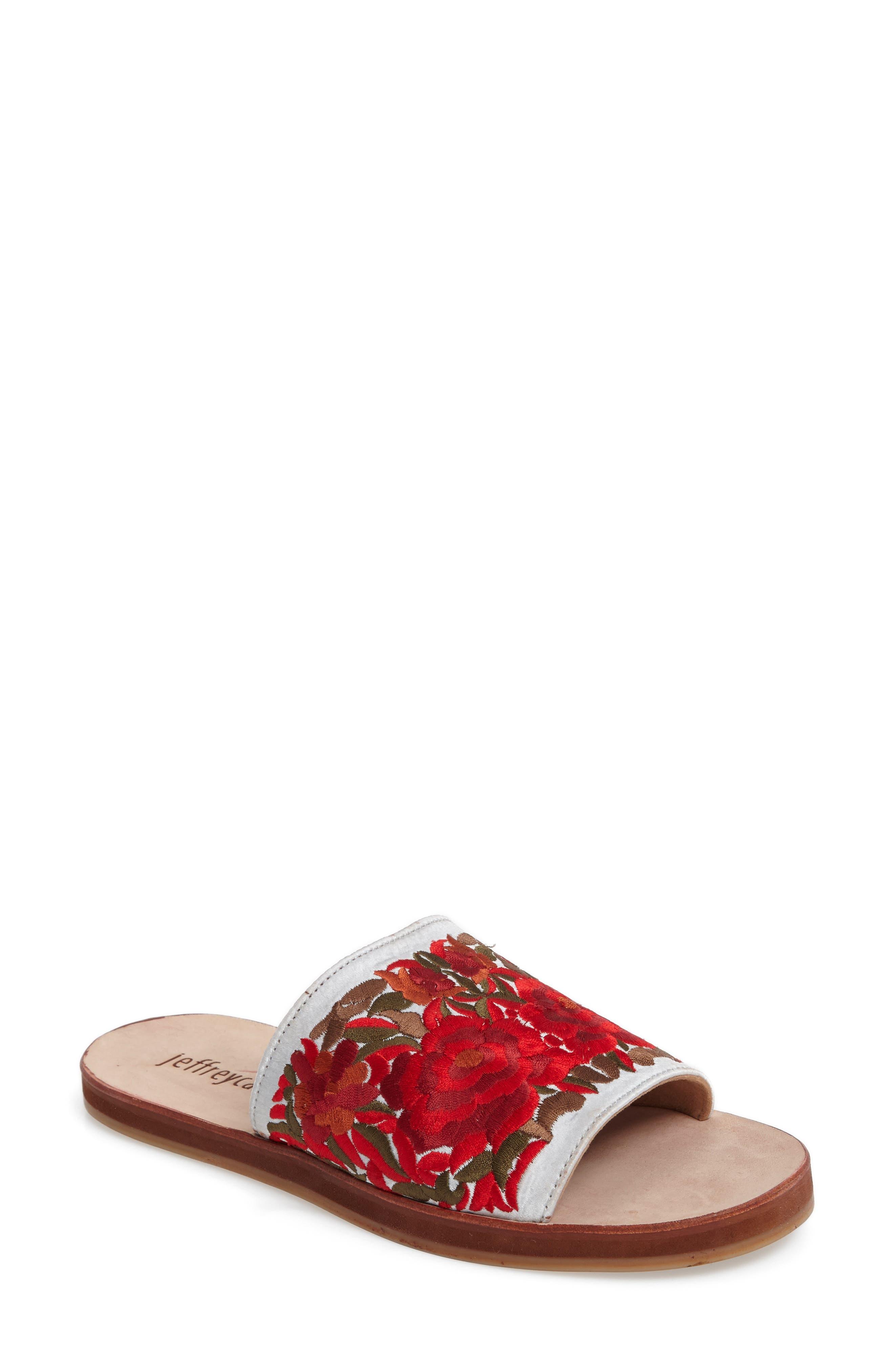 Jeffrey Campbell Sarasi Flower Embroidered Slide Sandal (Women)