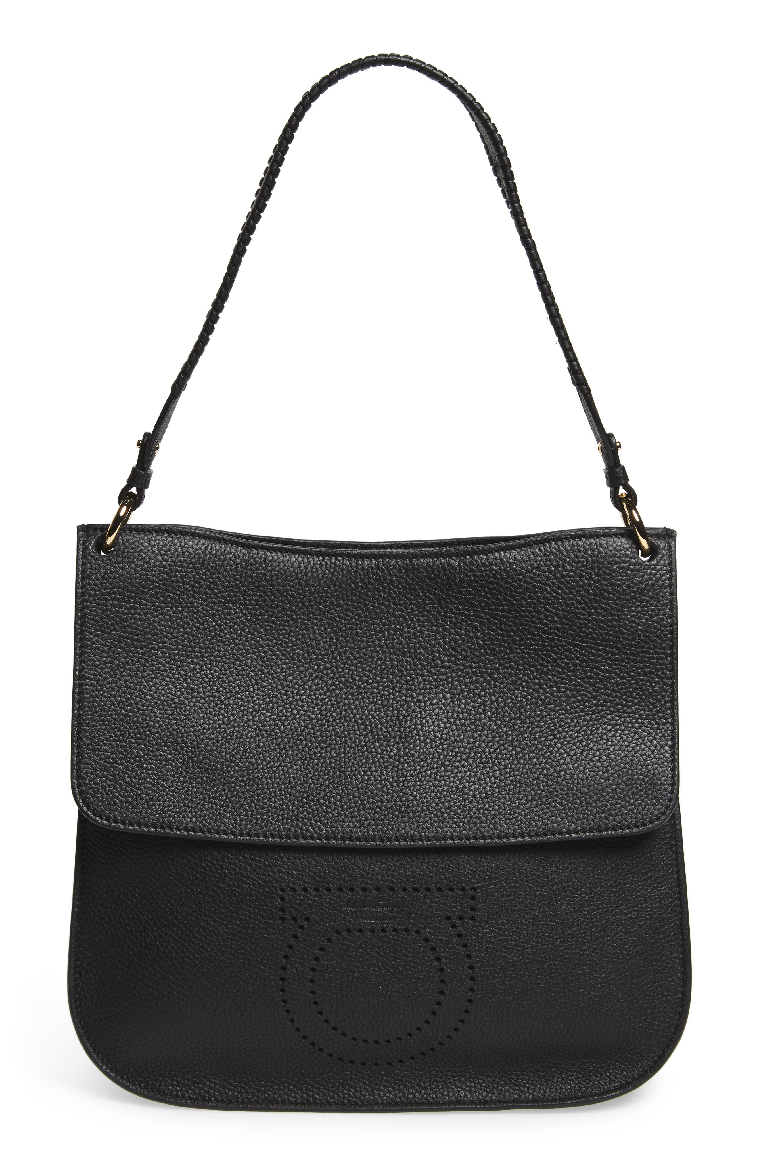Salvatore Ferragamo Pebbled Leather Hobo Bag