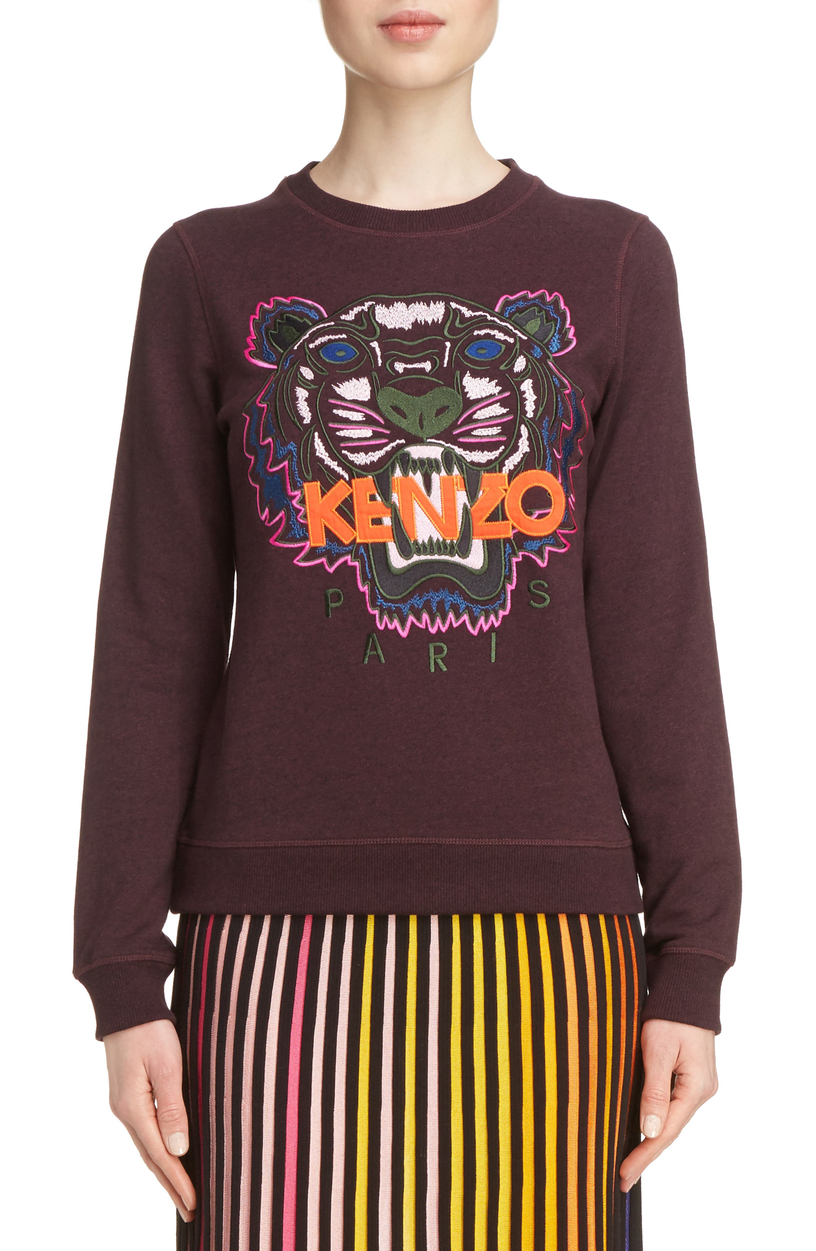 Embroidered Tiger Sweatshirt,                             Main thumbnail 1, color,                             Prune