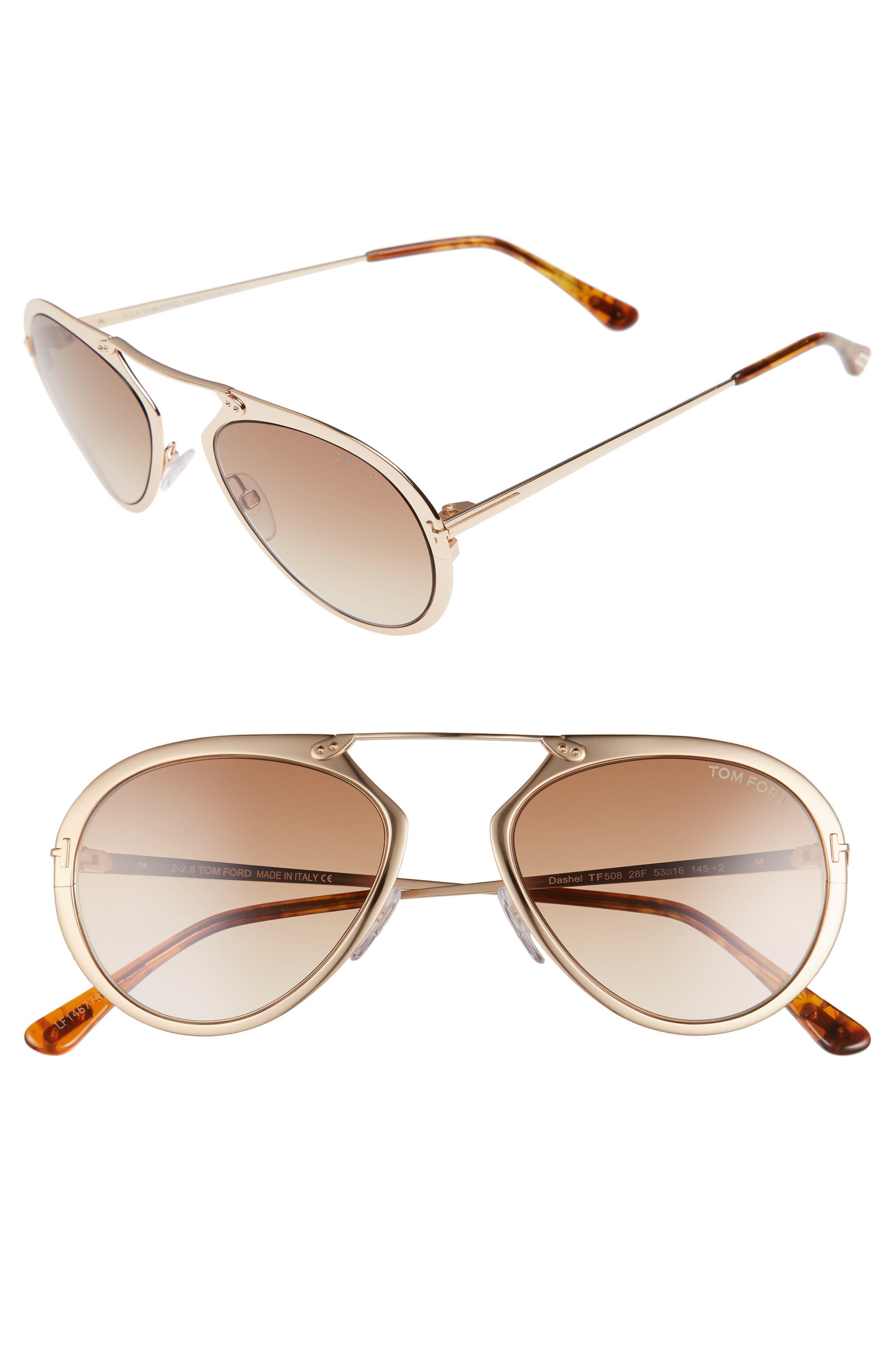 Main Image - Tom Ford Dashel 58mm Aviator Sunglasses