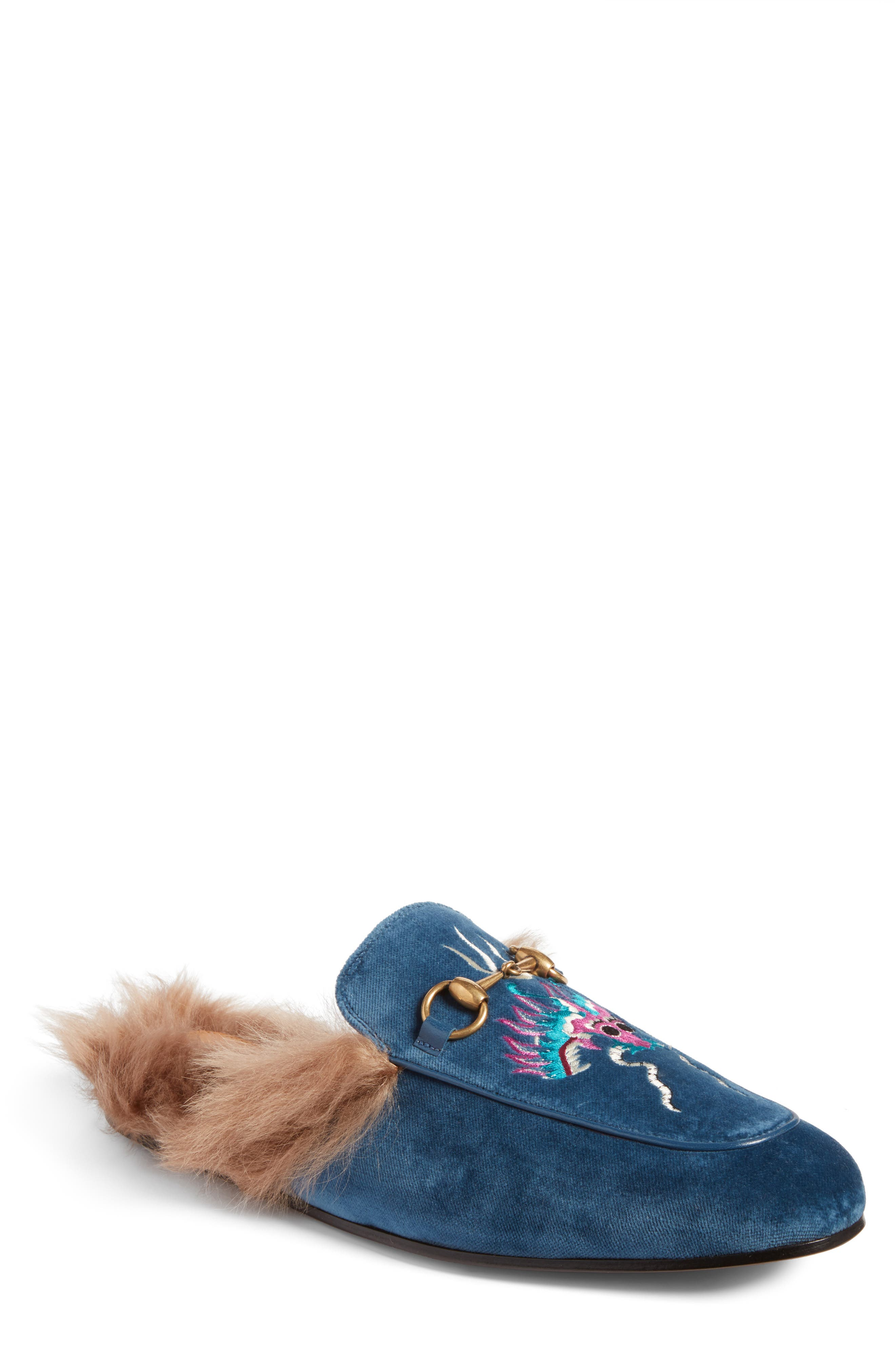 Princetown Genuine Shearling Lined Mule Loafer,                             Main thumbnail 1, color,                             Cobalt Multi