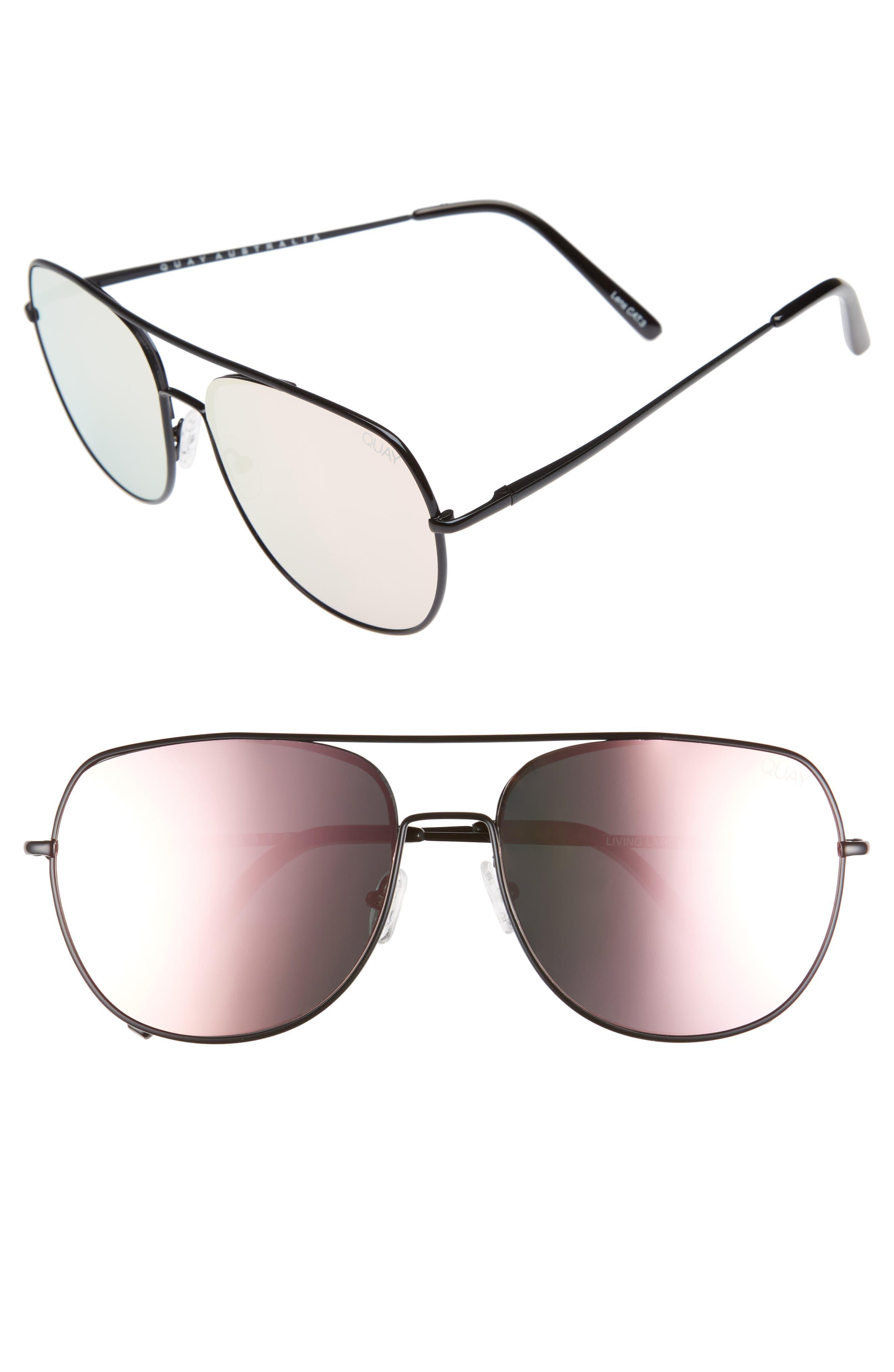 QUAY AUSTRALIA Living Large 60mm Mirrored Aviator Sunglasses