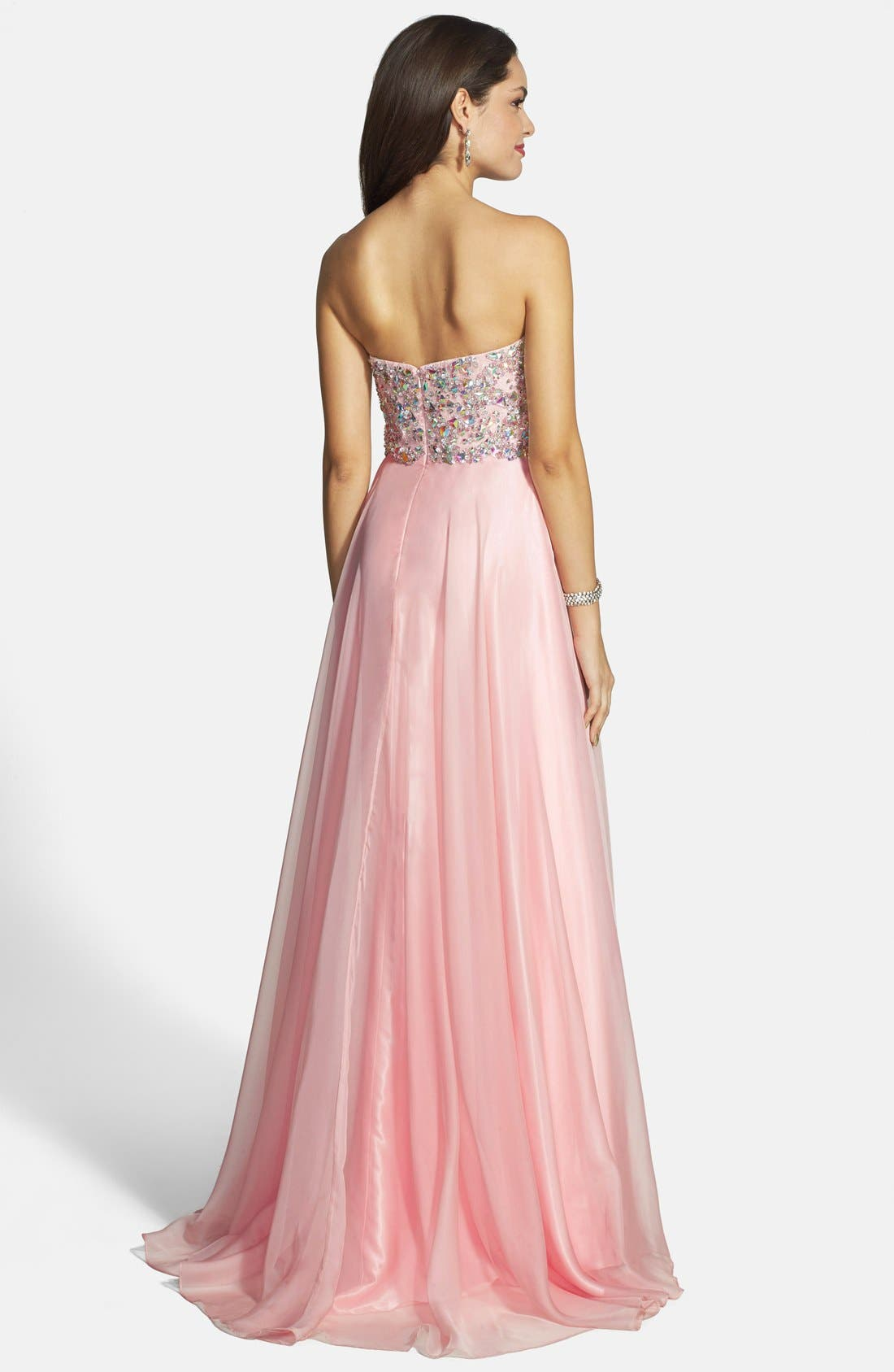 Alternate Image 2  - Alyce Paris Embellished Strapless Chiffon Gown