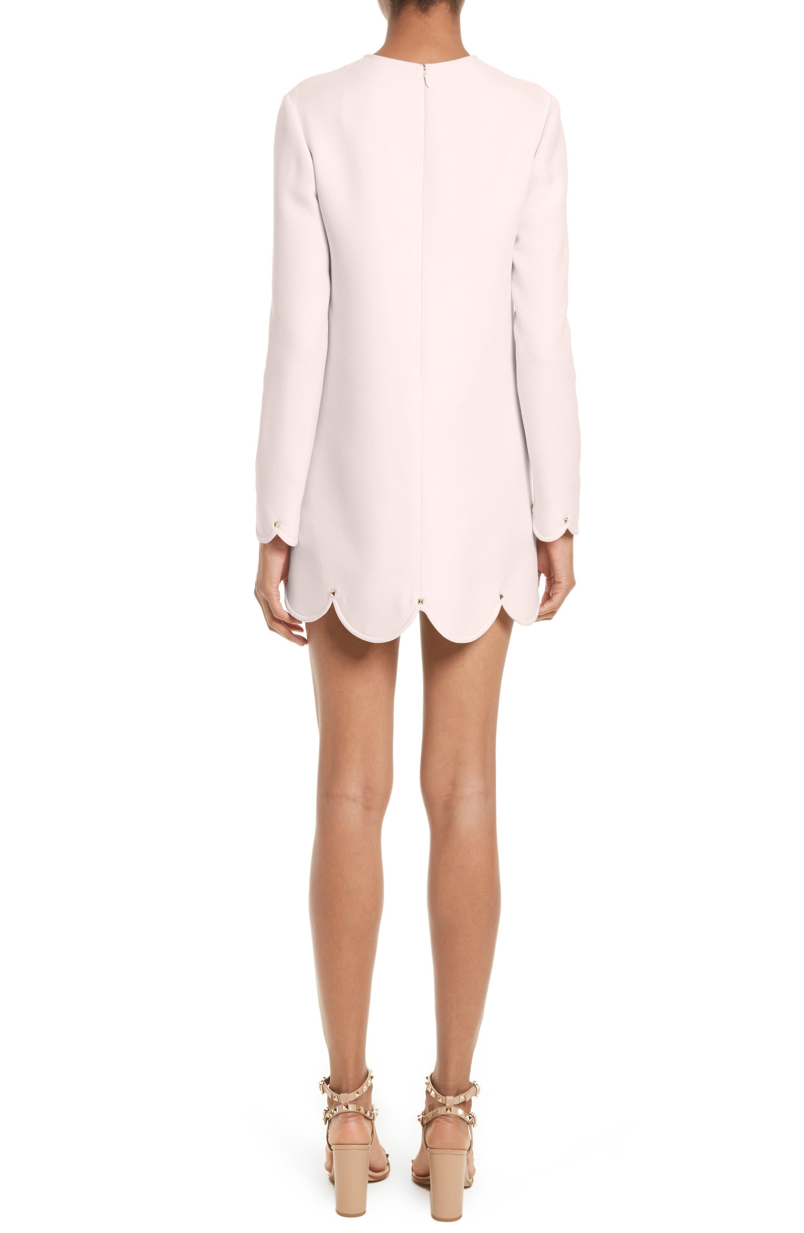 Alternate Image 2  - Valentino Scallop Hem Wool & Silk Shift Dress