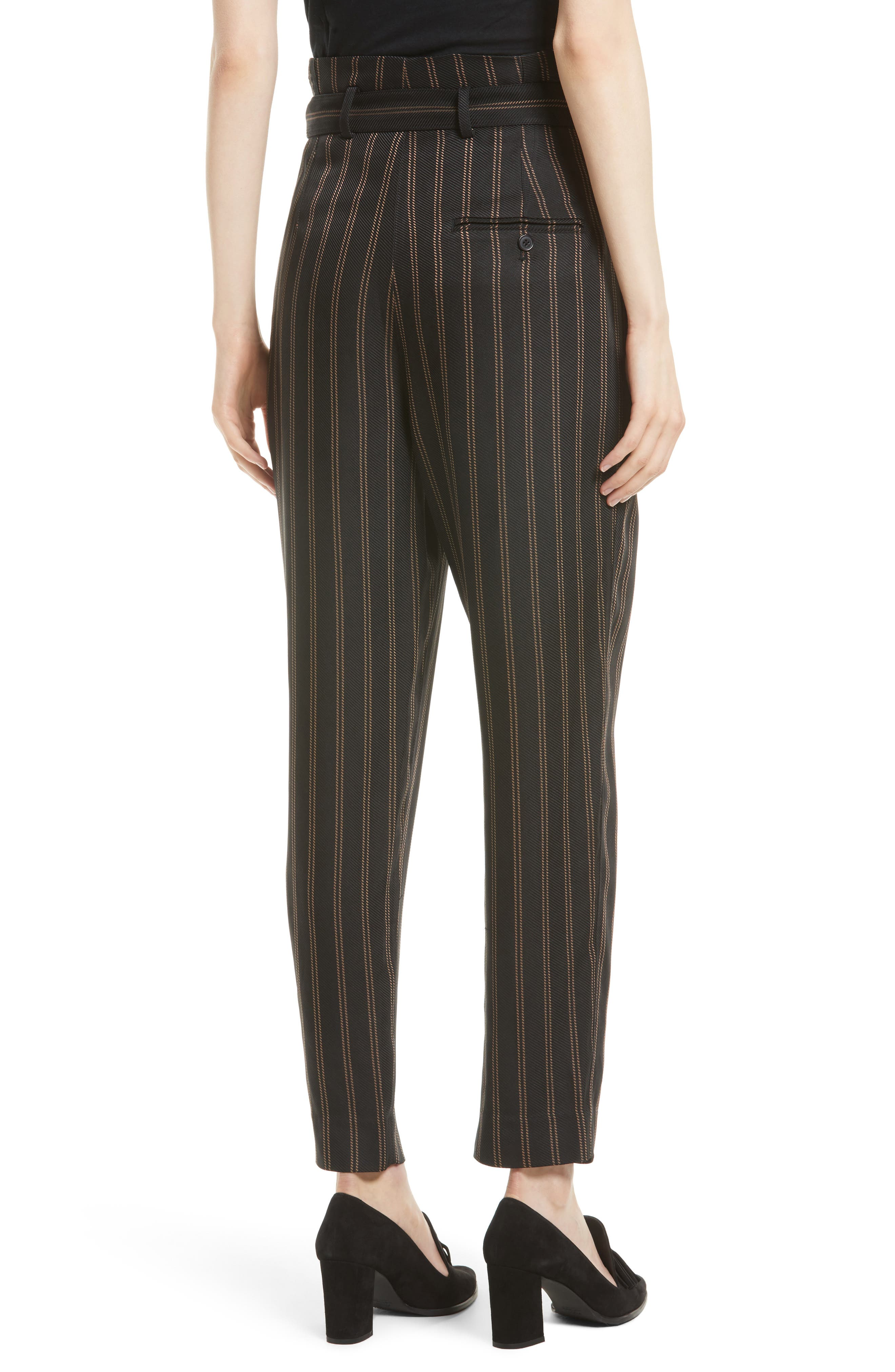 Belted Pleat Crop Pants,                             Alternate thumbnail 3, color,                             Black/ Tan