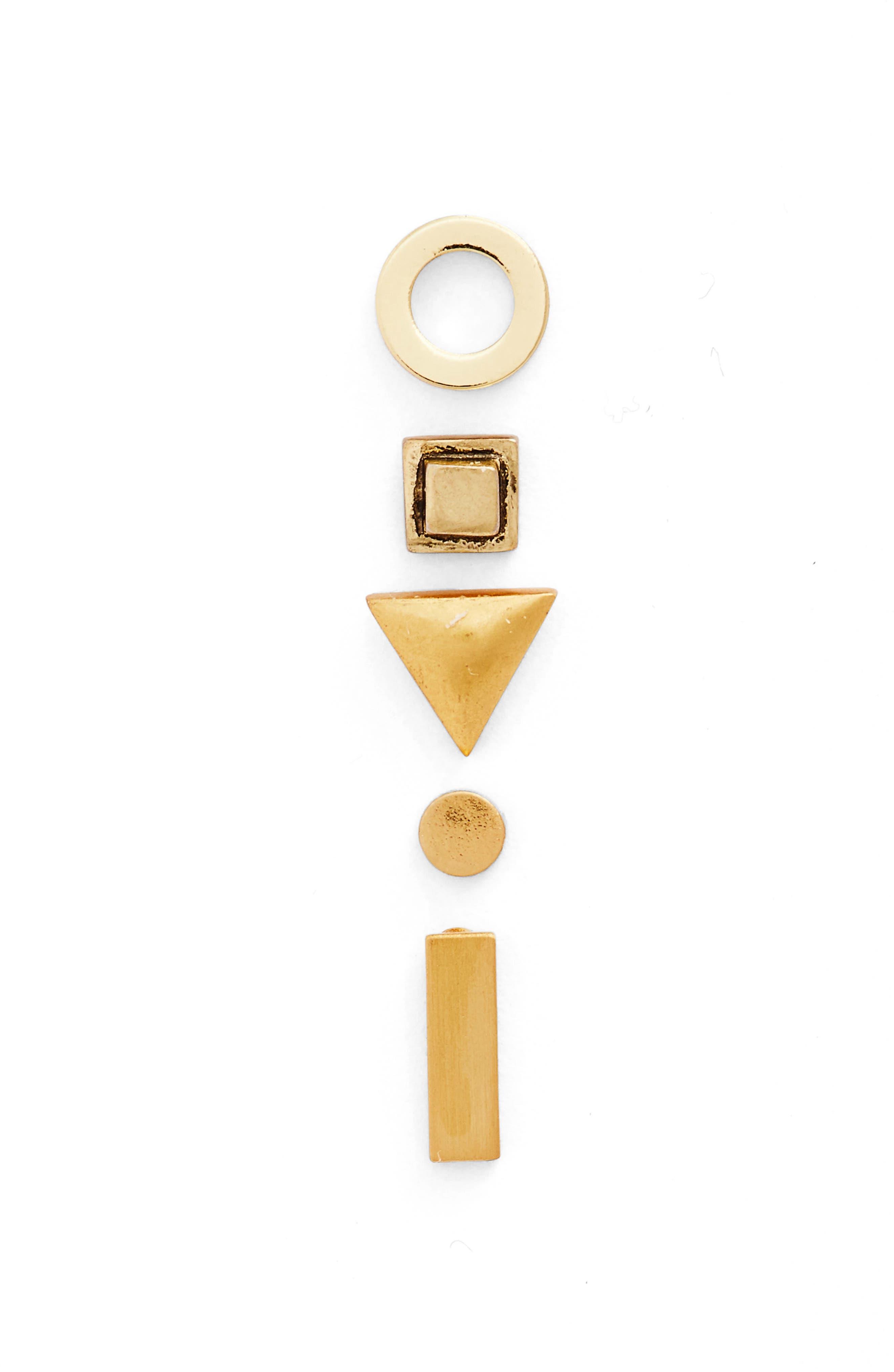 Alternate Image 1 Selected - Madewell 5-Pack Geometric Stud Earrings