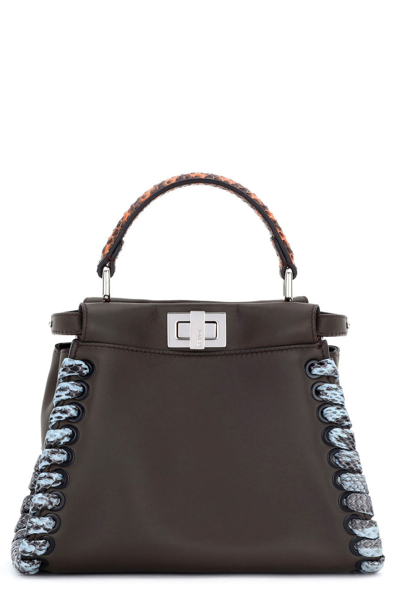 FENDI Mini Peekaboo Leather & Genuine Snakeskin Satchel