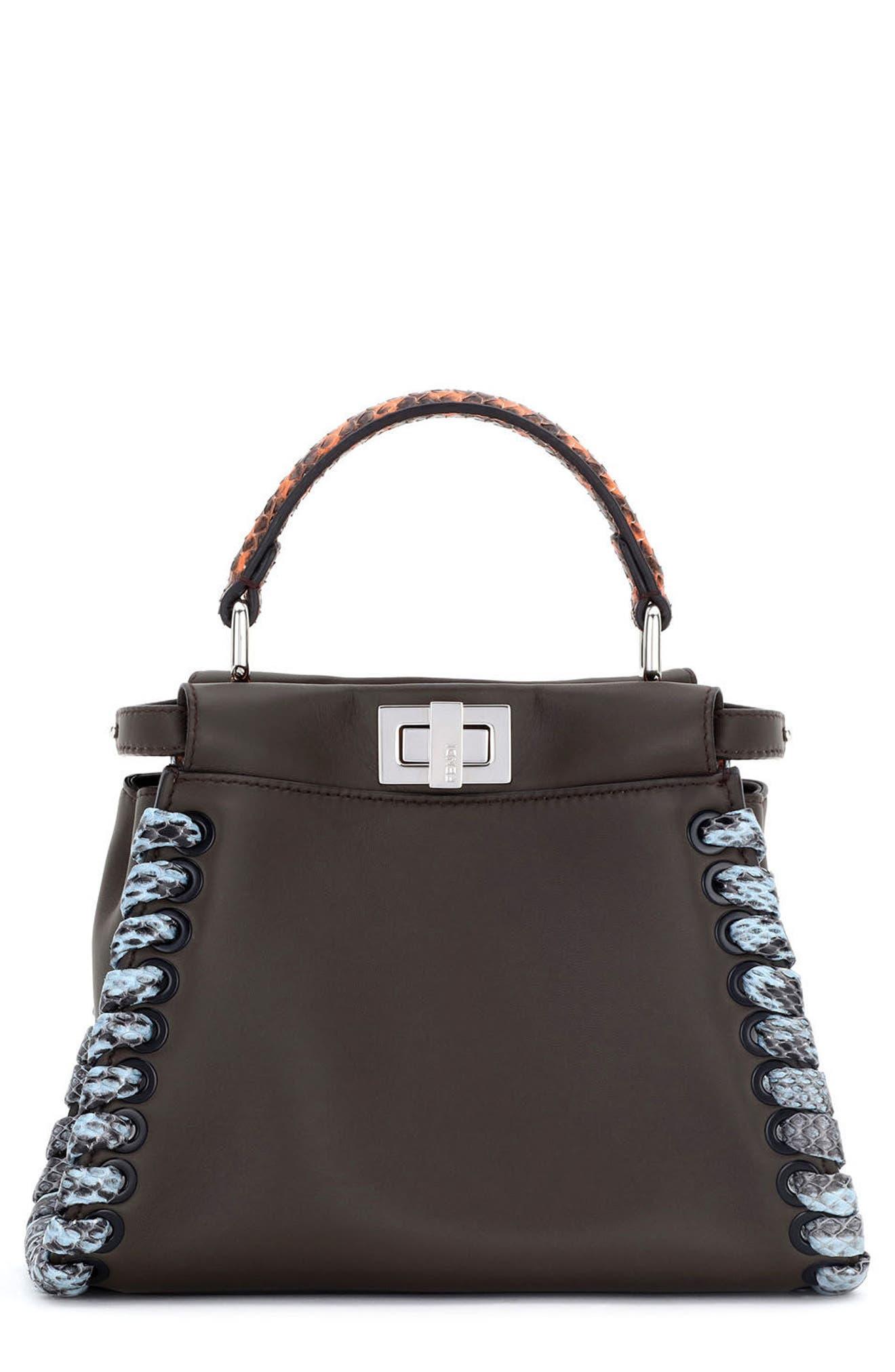 Main Image - Fendi Mini Peekaboo Leather & Genuine Snakeskin Satchel