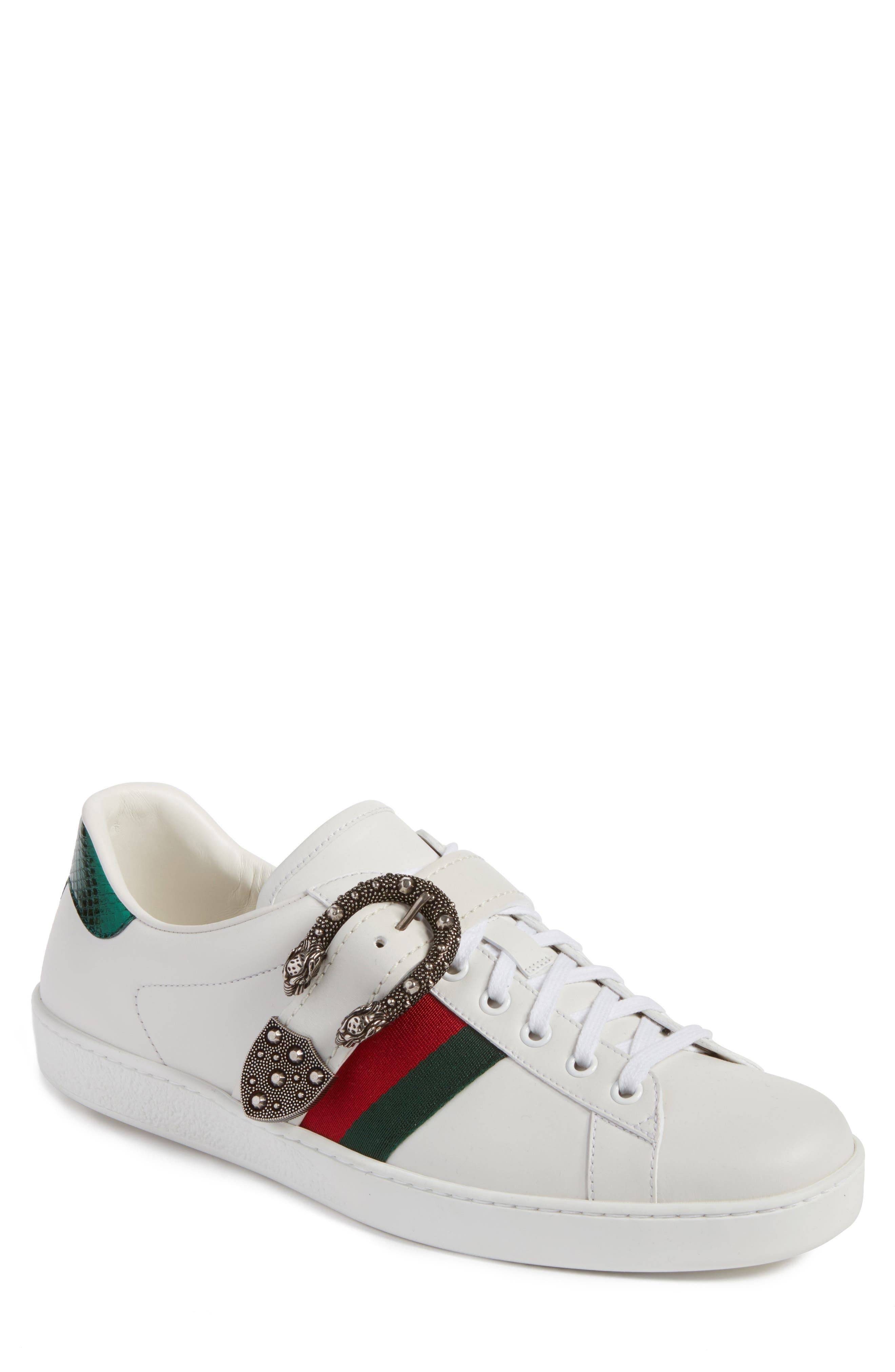 New Ace Dionysus Buckle Low Top Sneaker,                             Main thumbnail 1, color,                             White With Silver Hardware