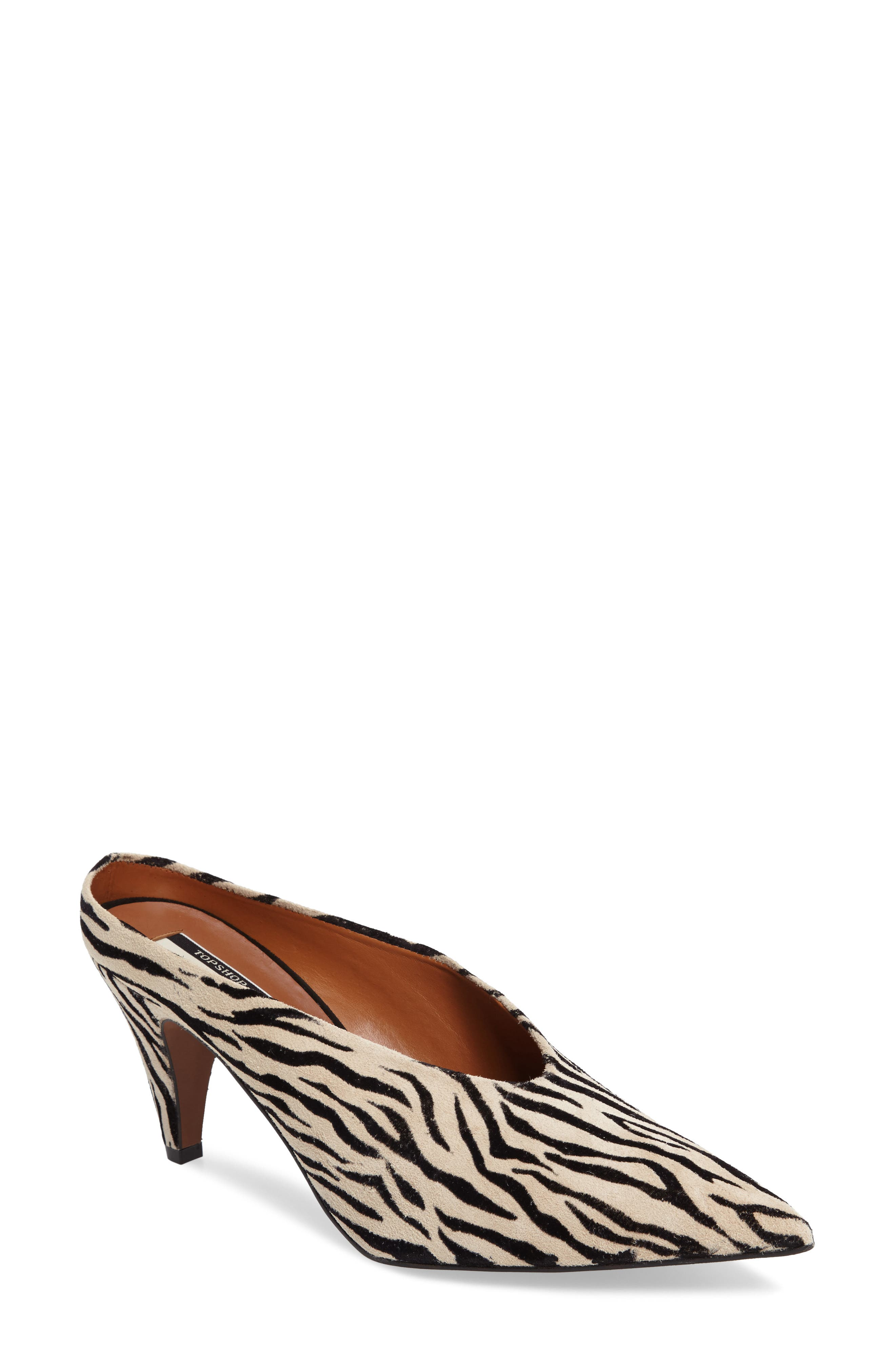 Juicy Pointy Toe Pump,                         Main,                         color, Zebra Print Leather