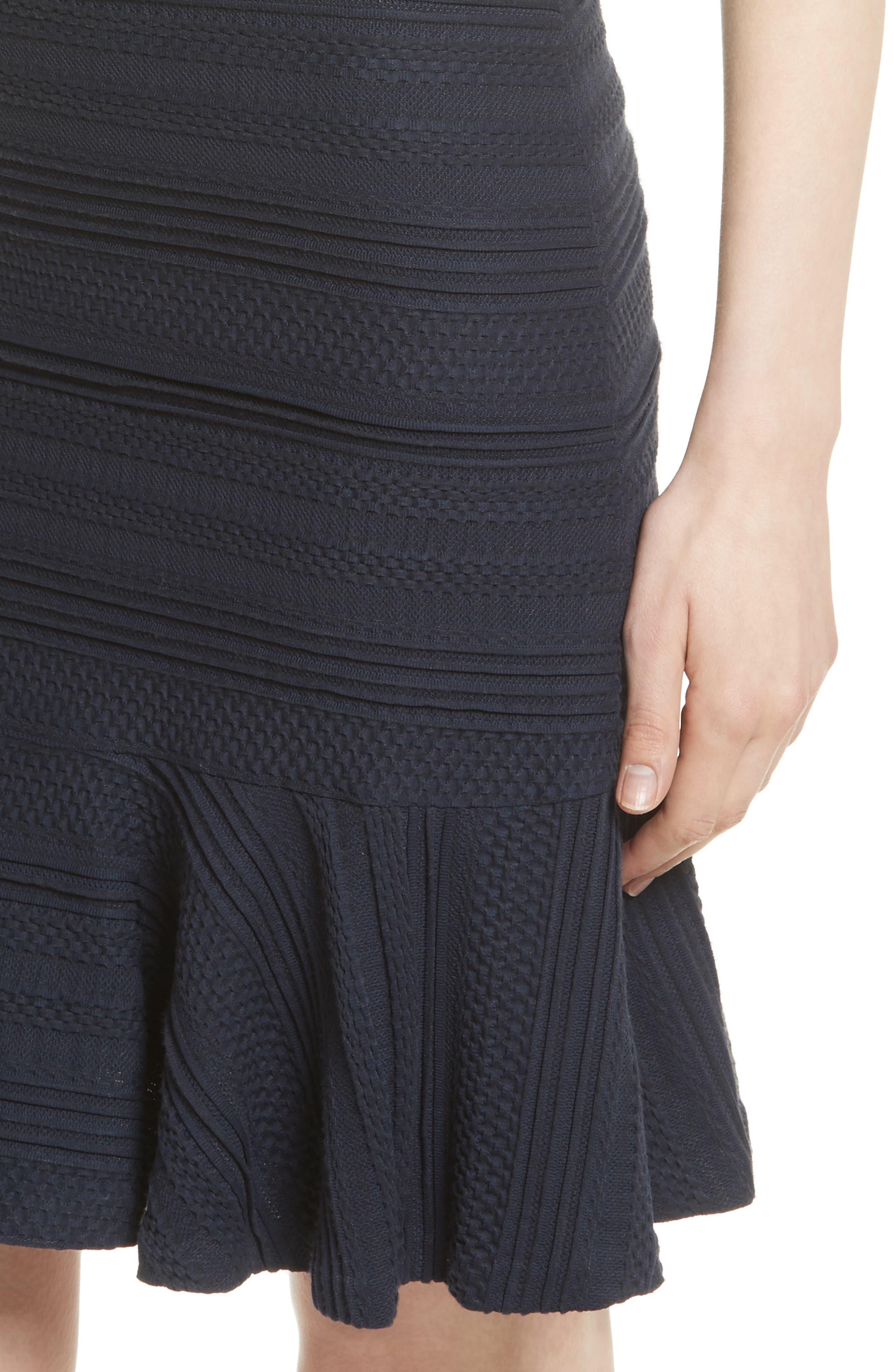 Off the Shoulder Textured Knit Dress,                             Alternate thumbnail 4, color,                             Navy