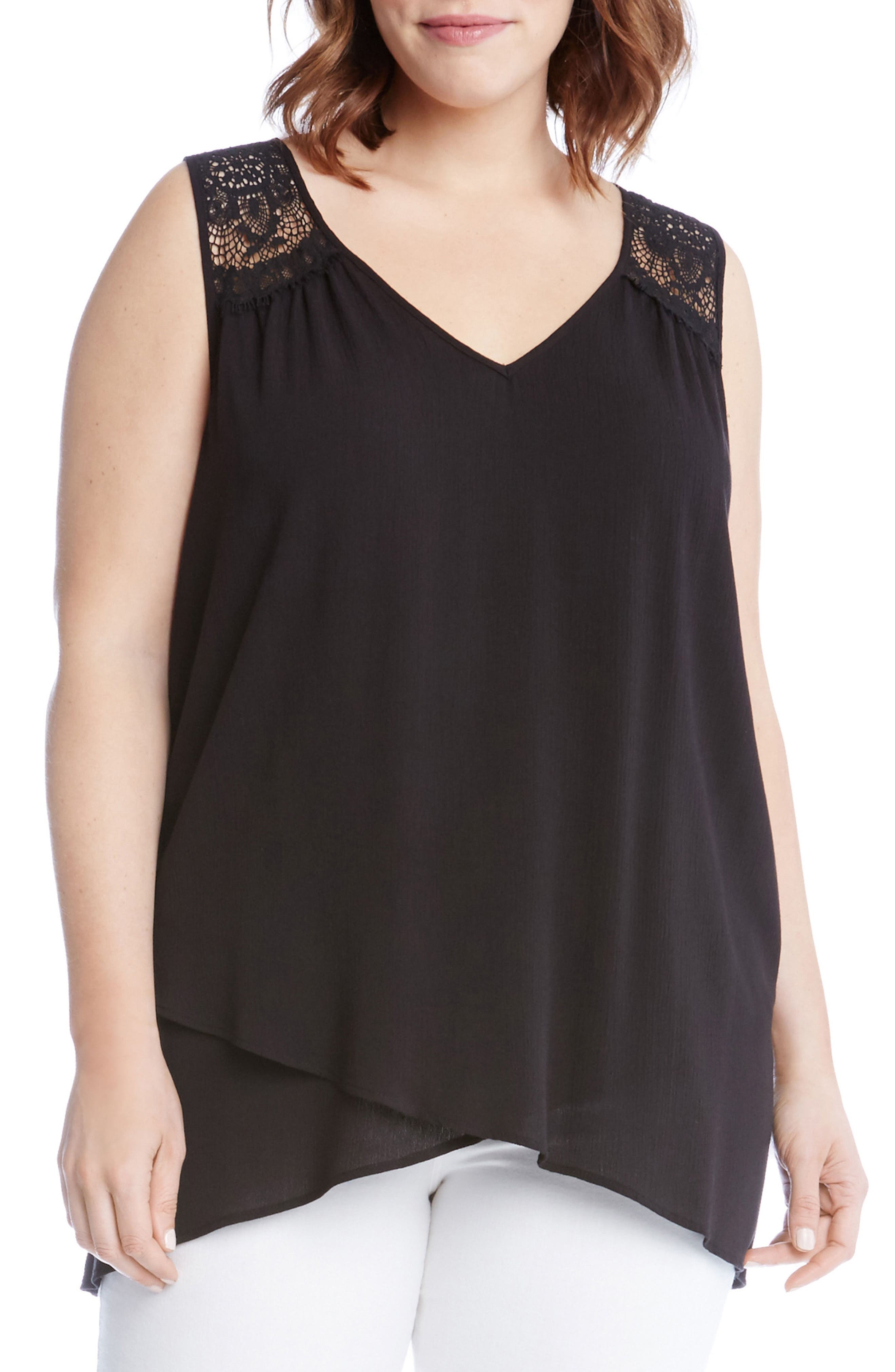 Lace Yoke Crossover Top,                         Main,                         color, Black