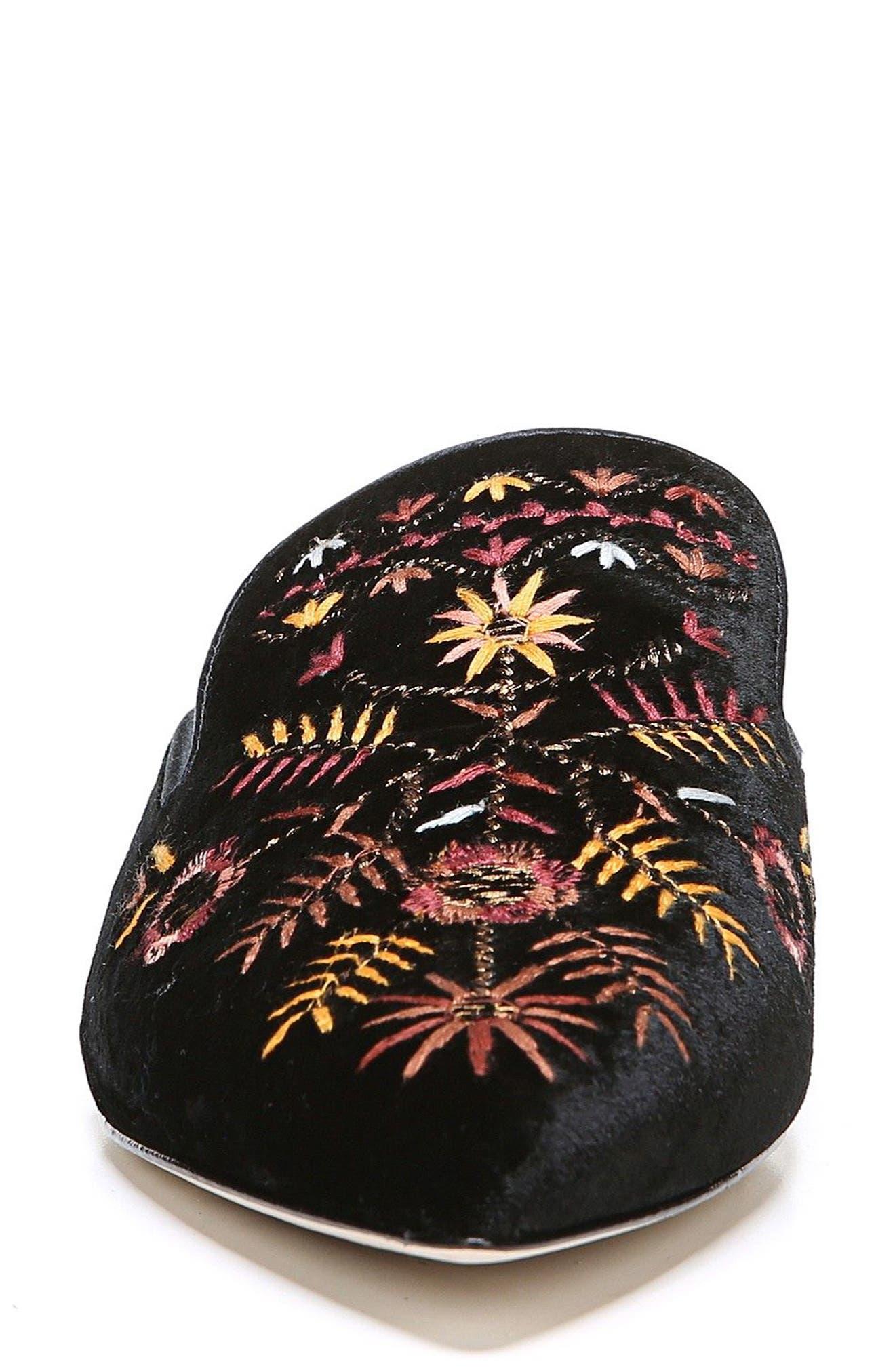 Ansley Pointy Toe Loafer Mule,                             Alternate thumbnail 4, color,                             Black Velvet