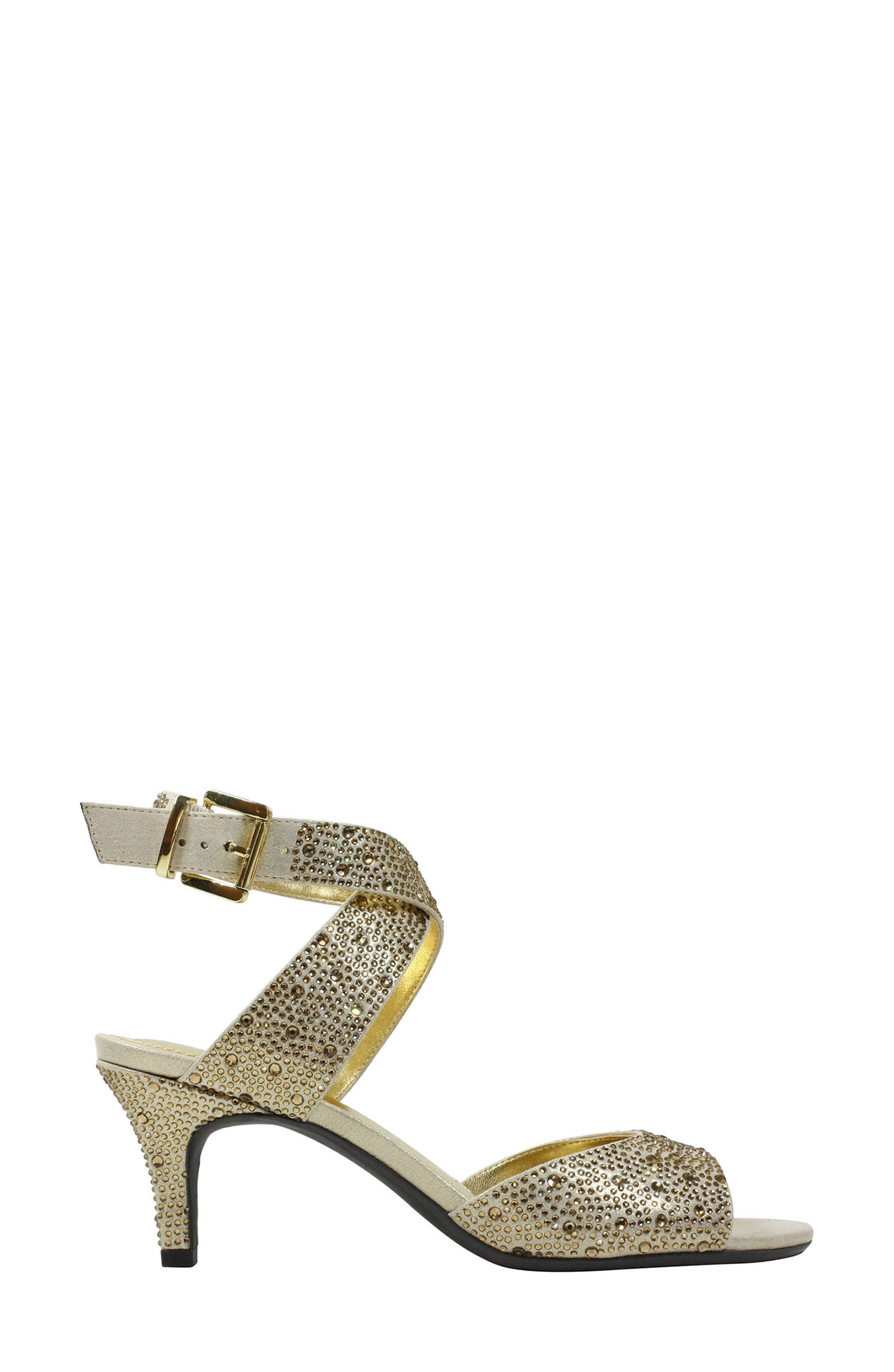 'Soncino' Ankle Strap Sandal,                             Alternate thumbnail 2, color,                             Gold Fabric