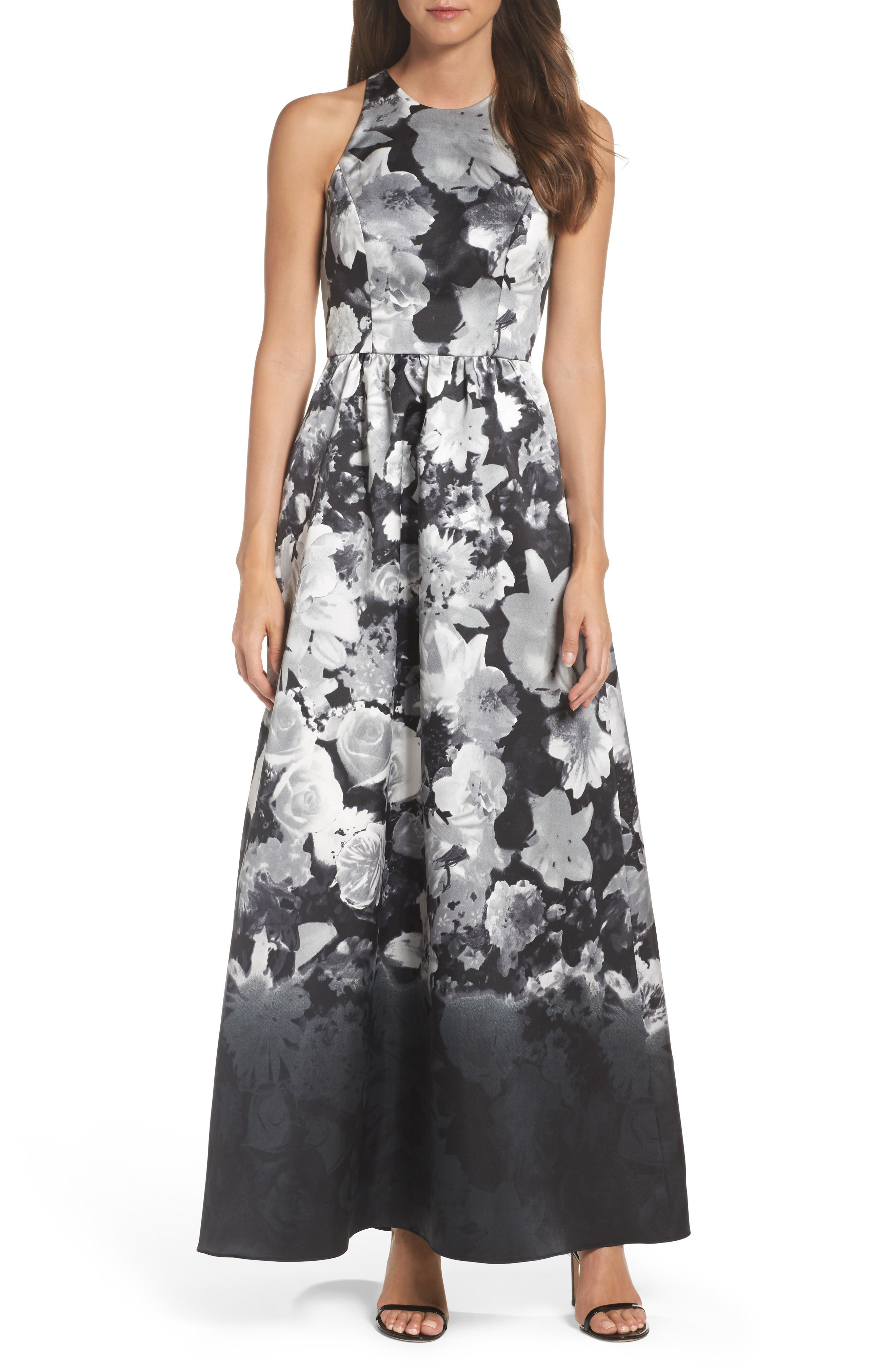 Main Image - Alfred Sung Floral Sateen Gown