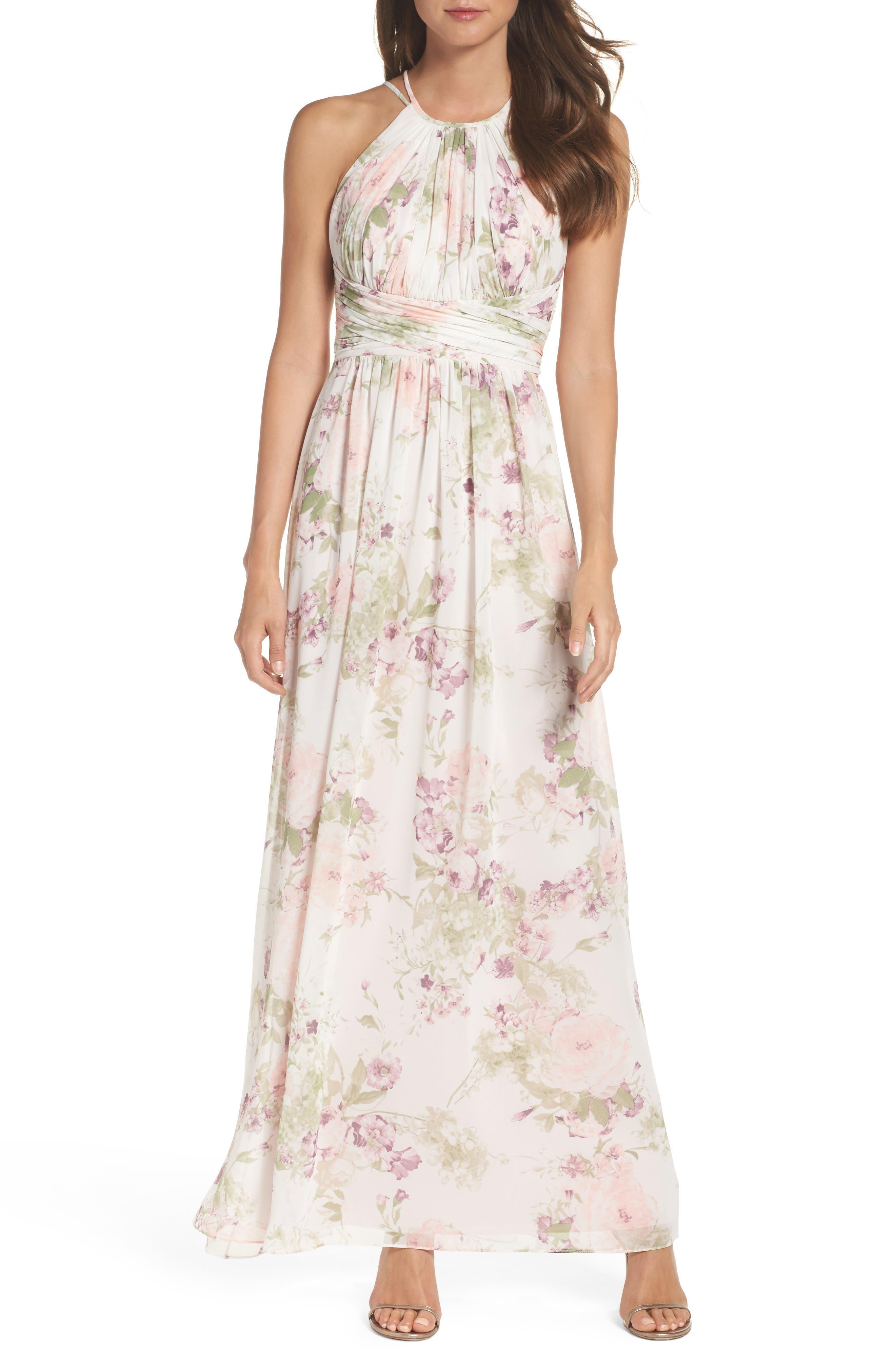 Lux Chiffon Halter Gown,                         Main,                         color, Blush Garden