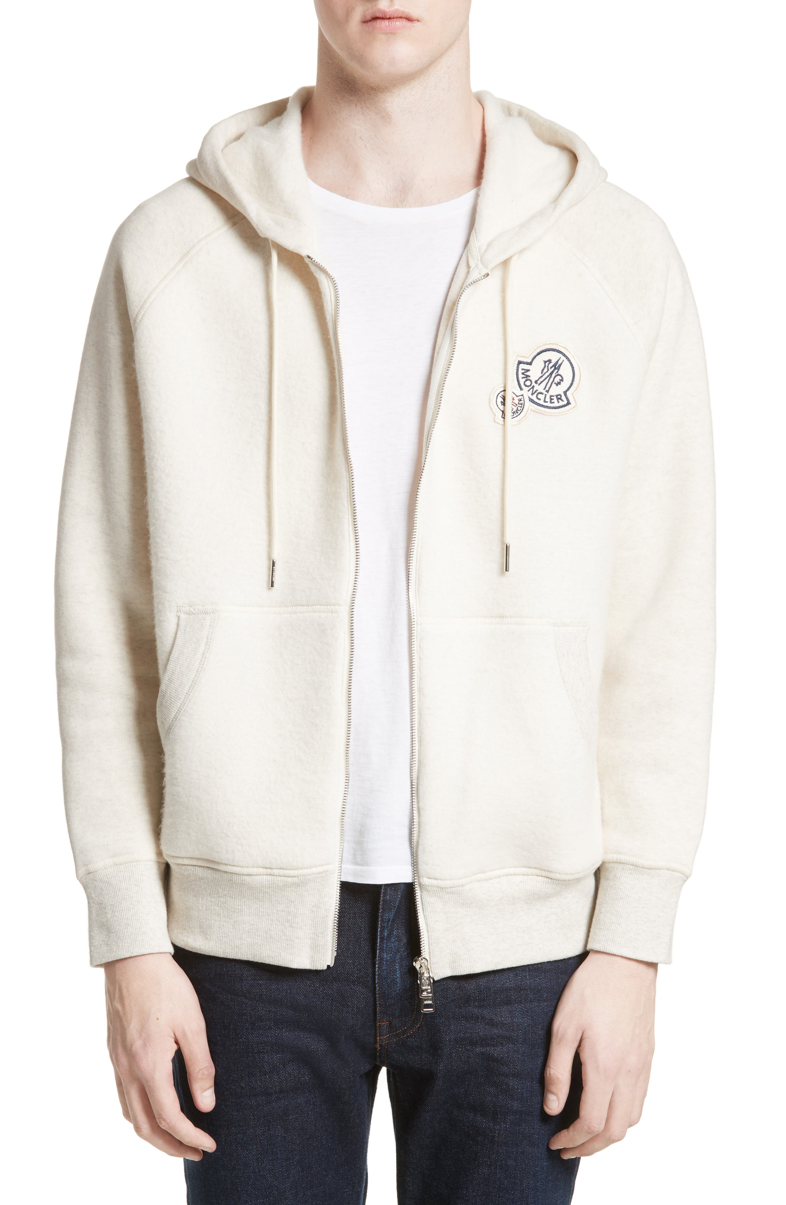 Maglia Front Zip Hooded Sweatshirt,                         Main,                         color, Off White