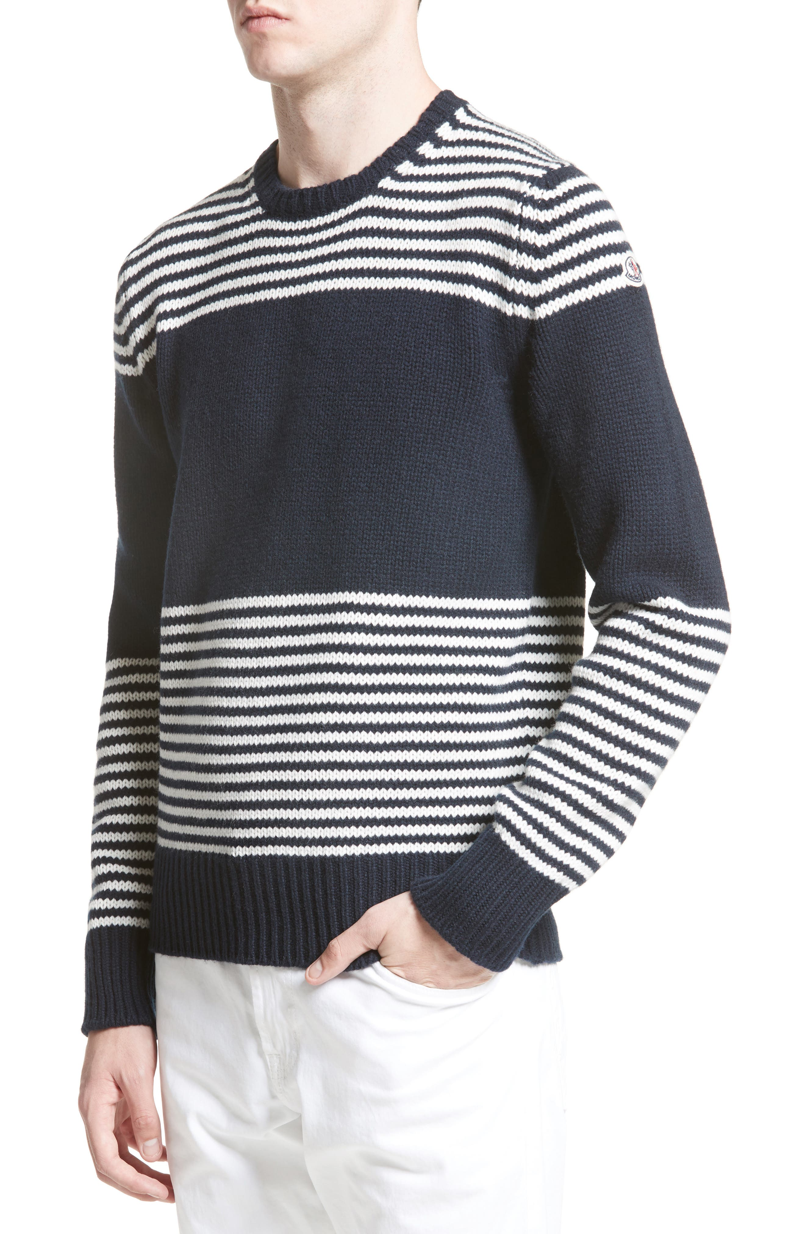 Maglione Stripe Wool & Cashmere Sweater,                         Main,                         color, Navy