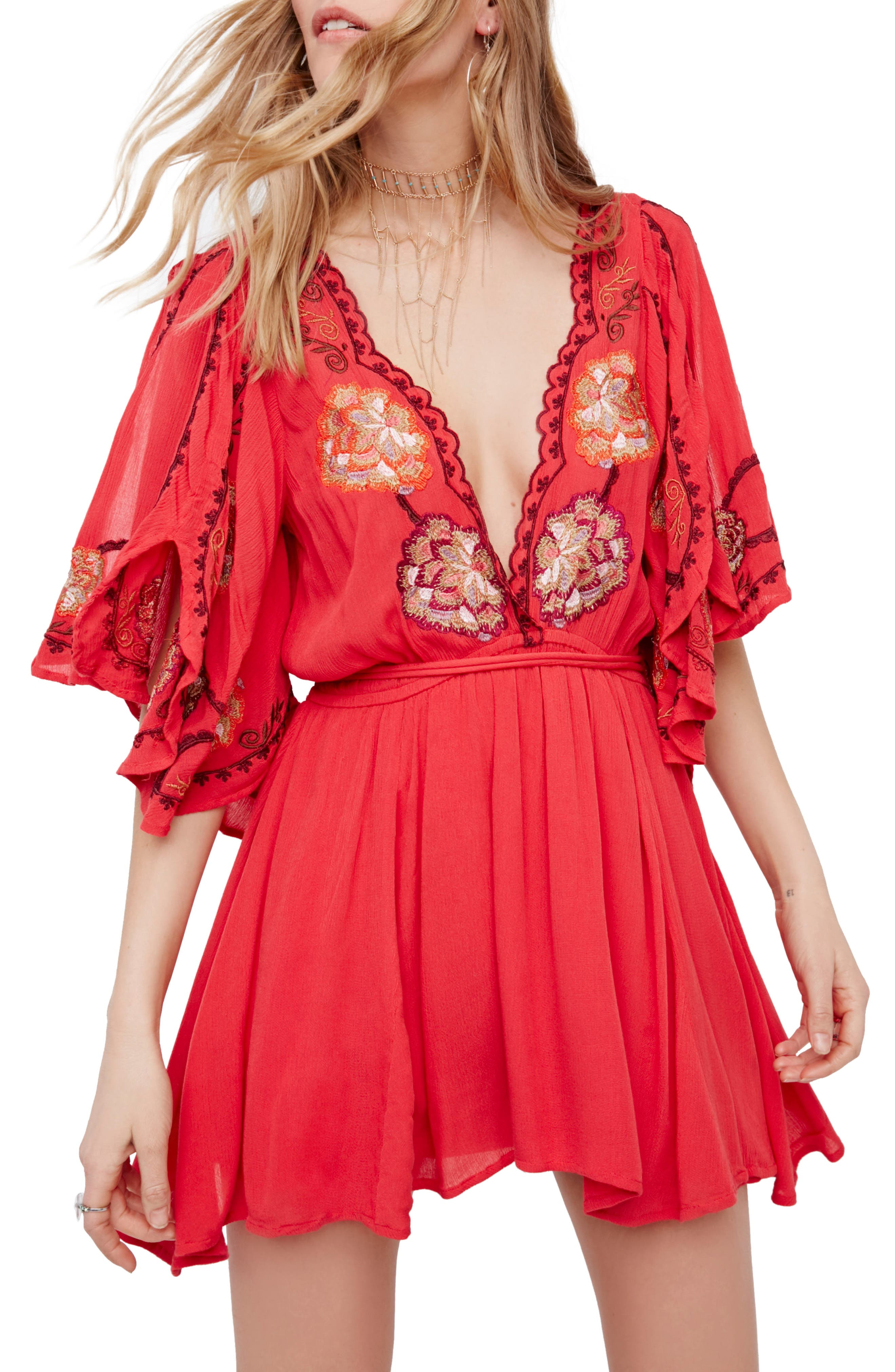 Free People Cora Embroidered Minidress