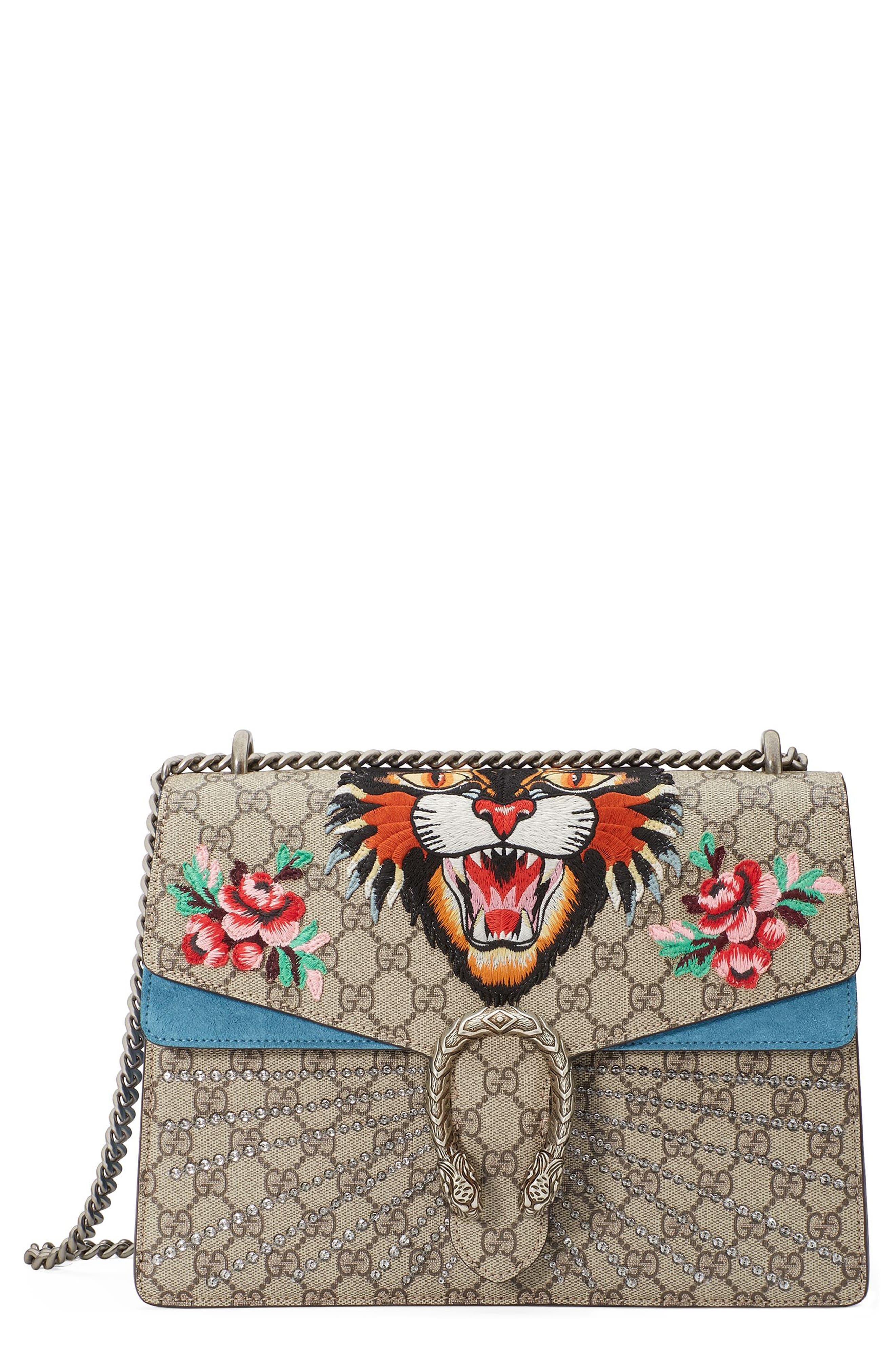 Medium Angry Cat GG Supreme Canvas & Suede Shoulder Bag,                             Main thumbnail 1, color,                             Beige Ebony/Ultramarine