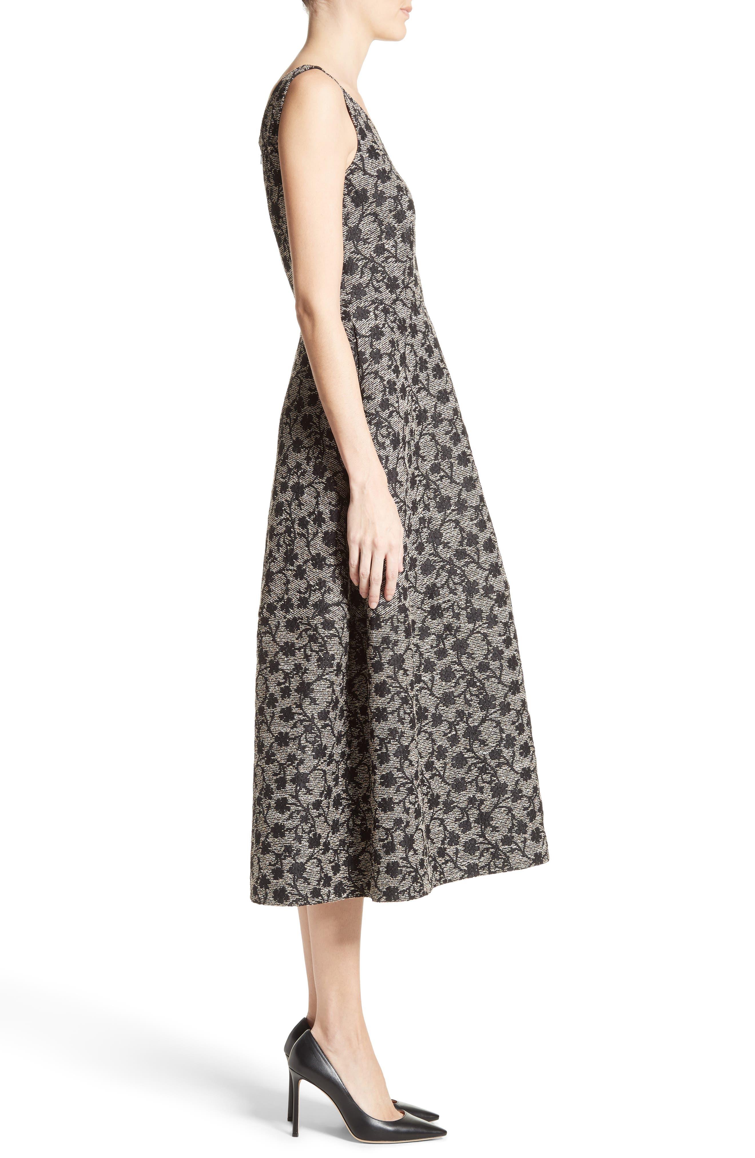 Floral Jacquard Midi Dress,                             Alternate thumbnail 5, color,                             Black/ Gold