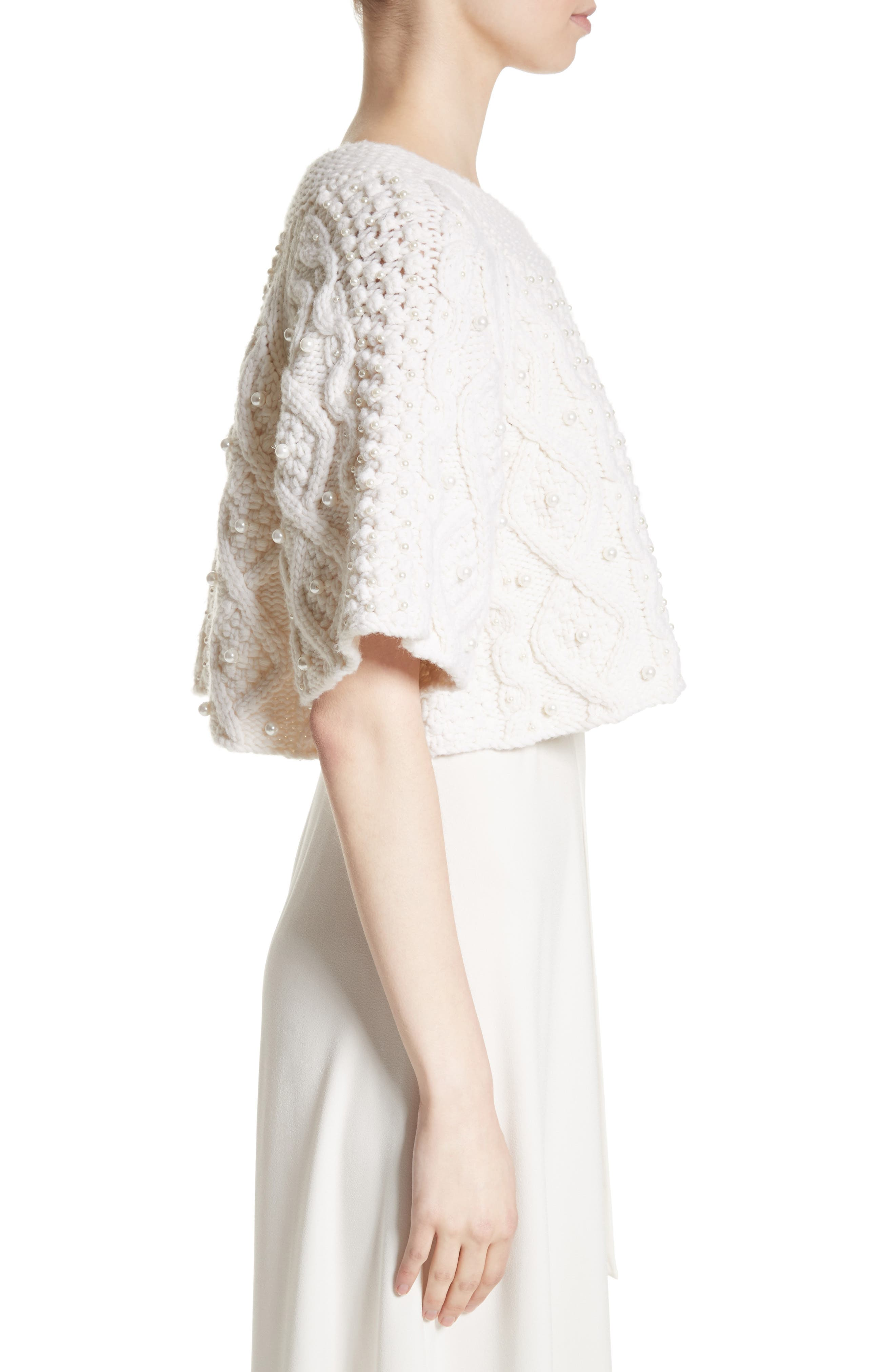 Cable Knit Wool & Cashmere Crop Sweater,                             Alternate thumbnail 5, color,                             Ivory