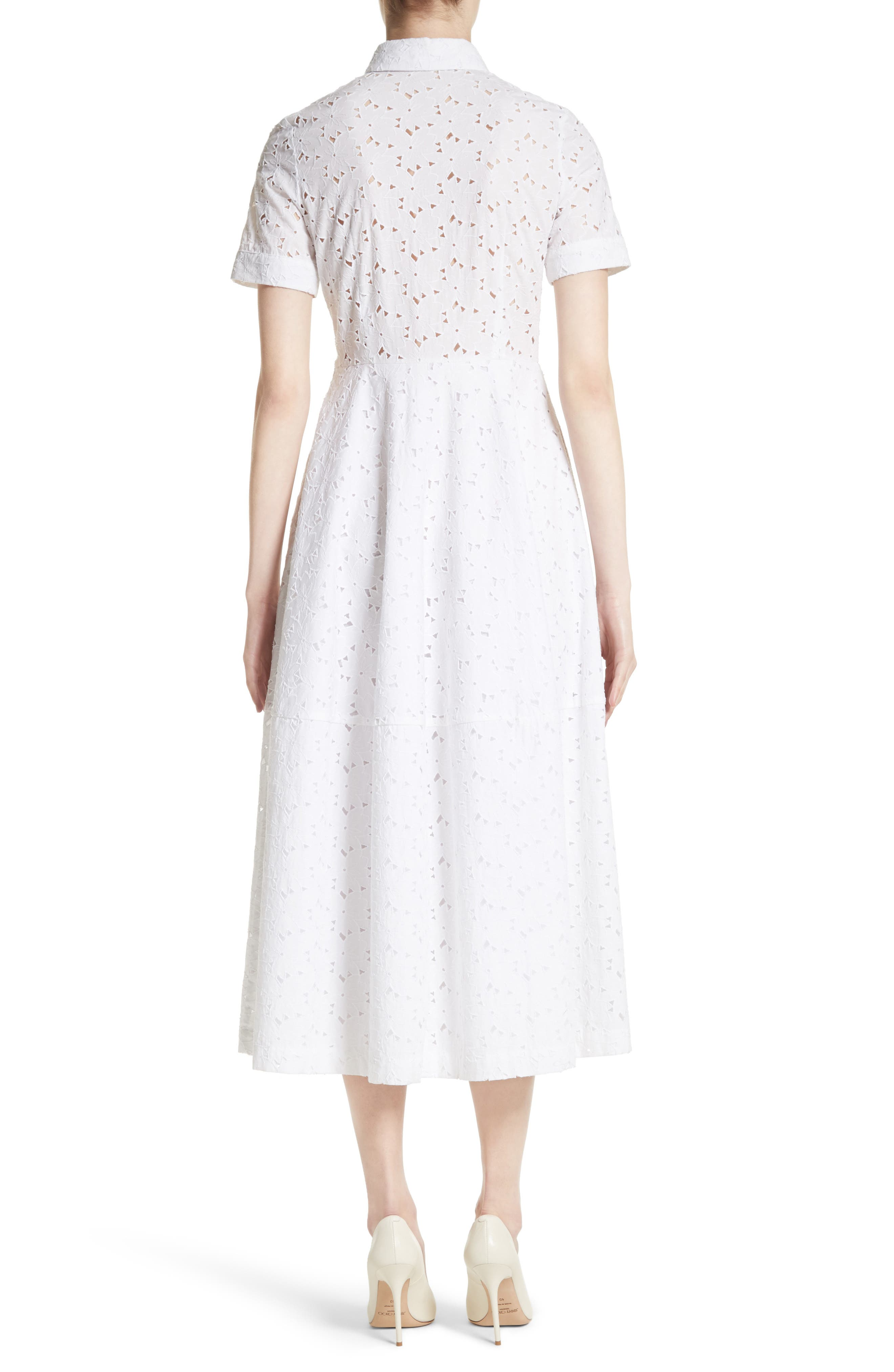 Cotton Broderie Anglaise Shirtdress,                             Alternate thumbnail 2, color,                             White
