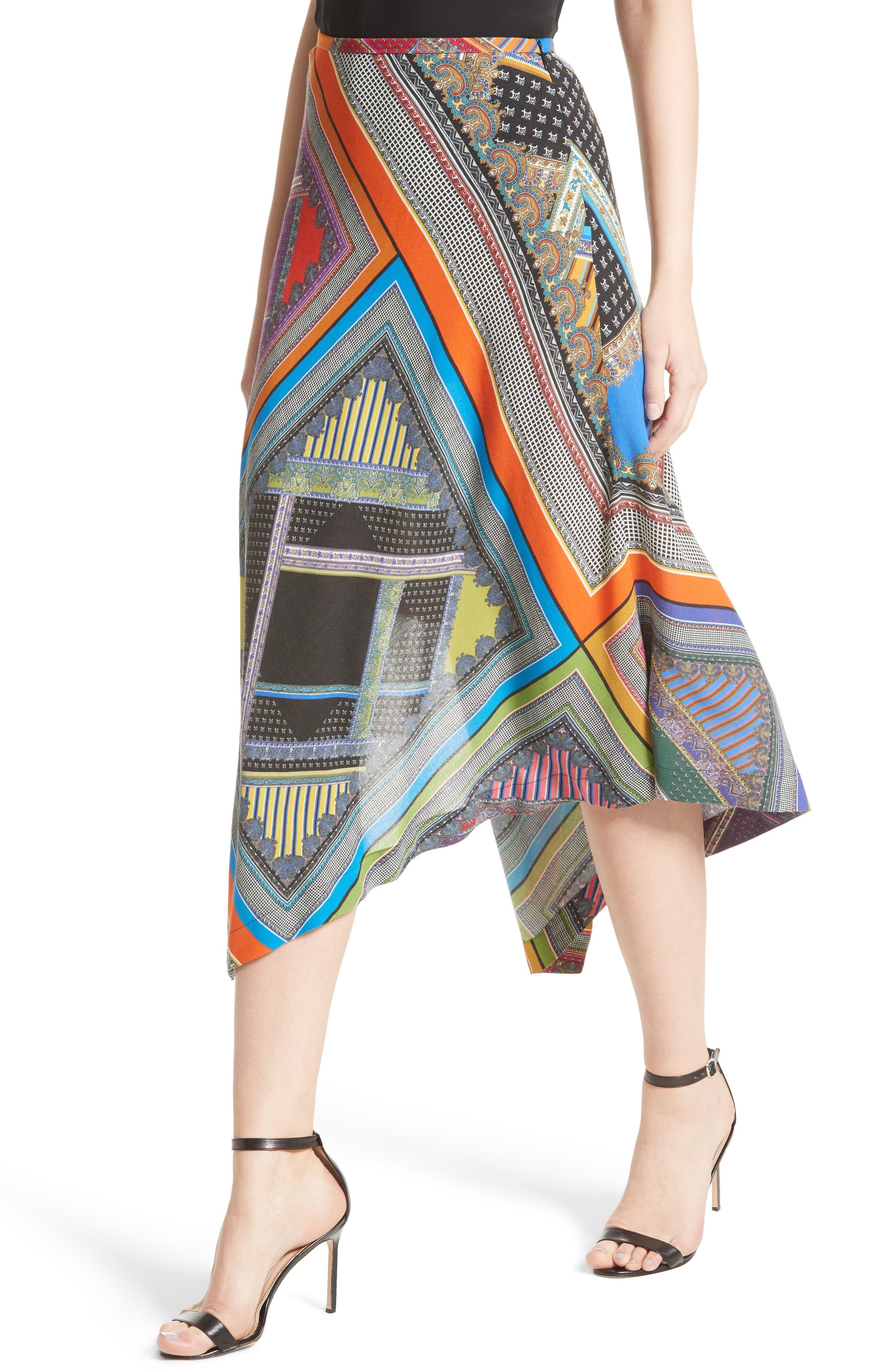 Alternate Image 6  - Etro Patchwork Print Asymmetrical Skirt