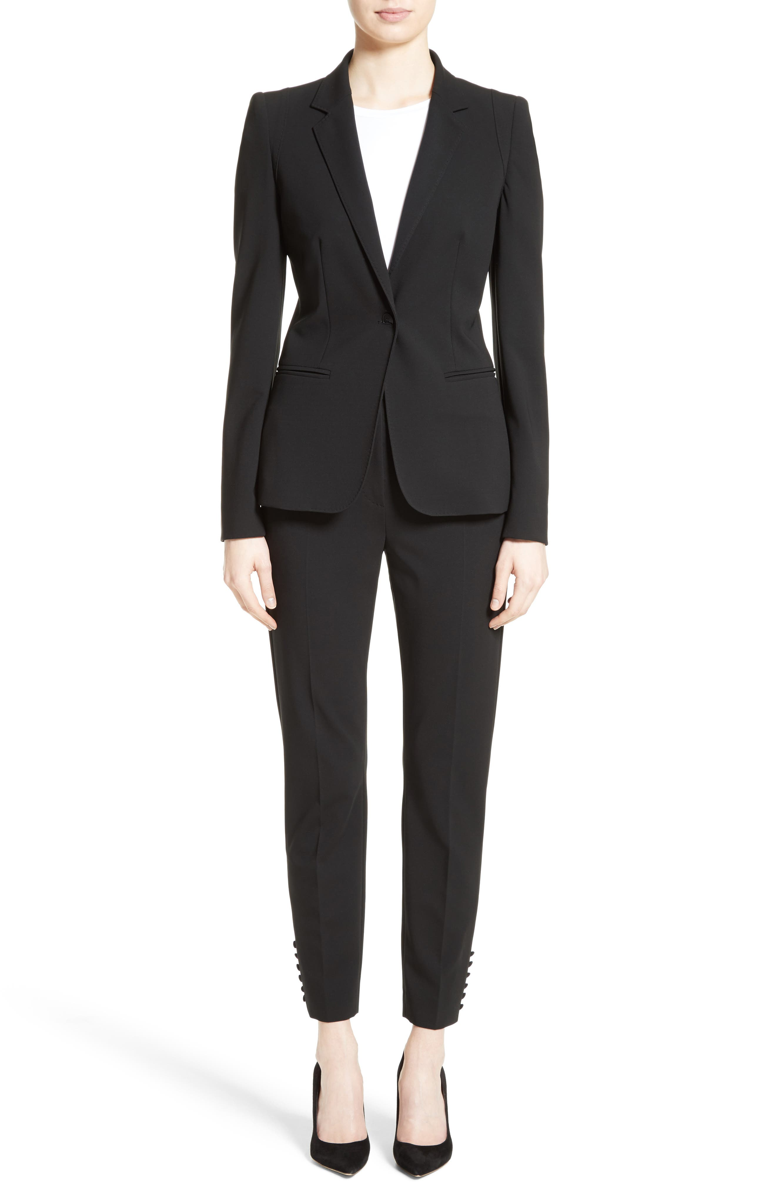 Bari Stretch Jersey Jacket,                             Alternate thumbnail 7, color,                             Black