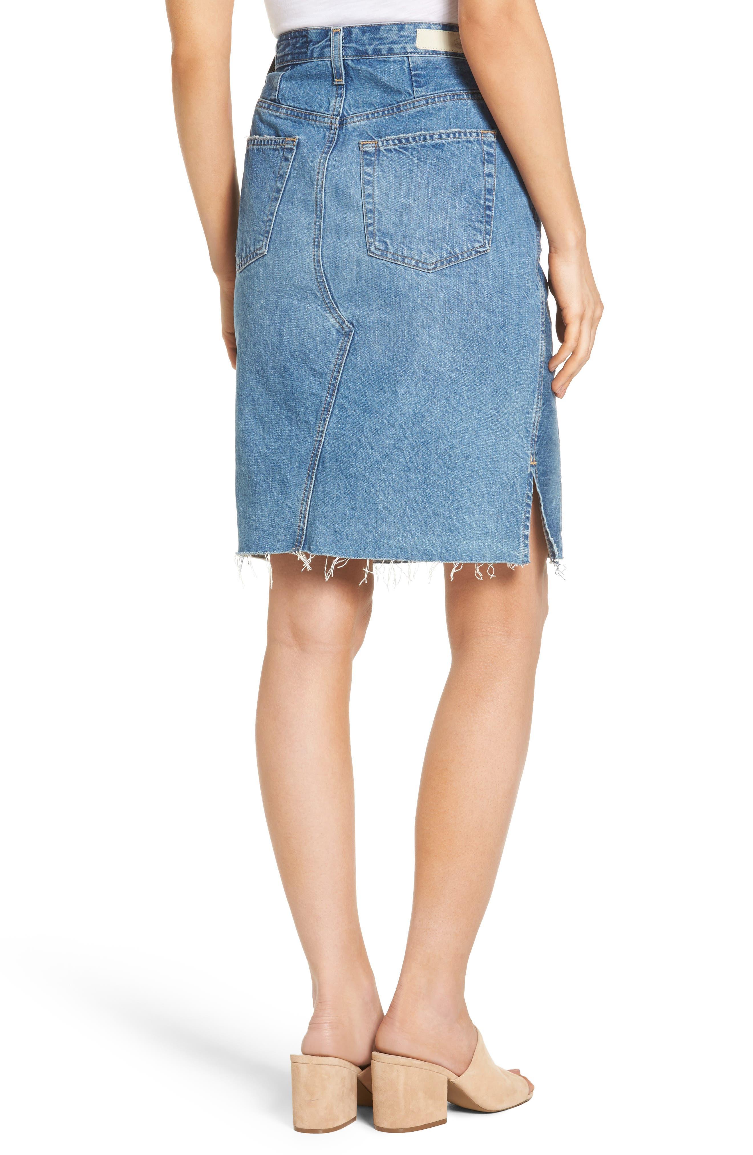 Alternate Image 3  - AG The Emery High Waist Denim Skirt (18 Years Blue Fawn)