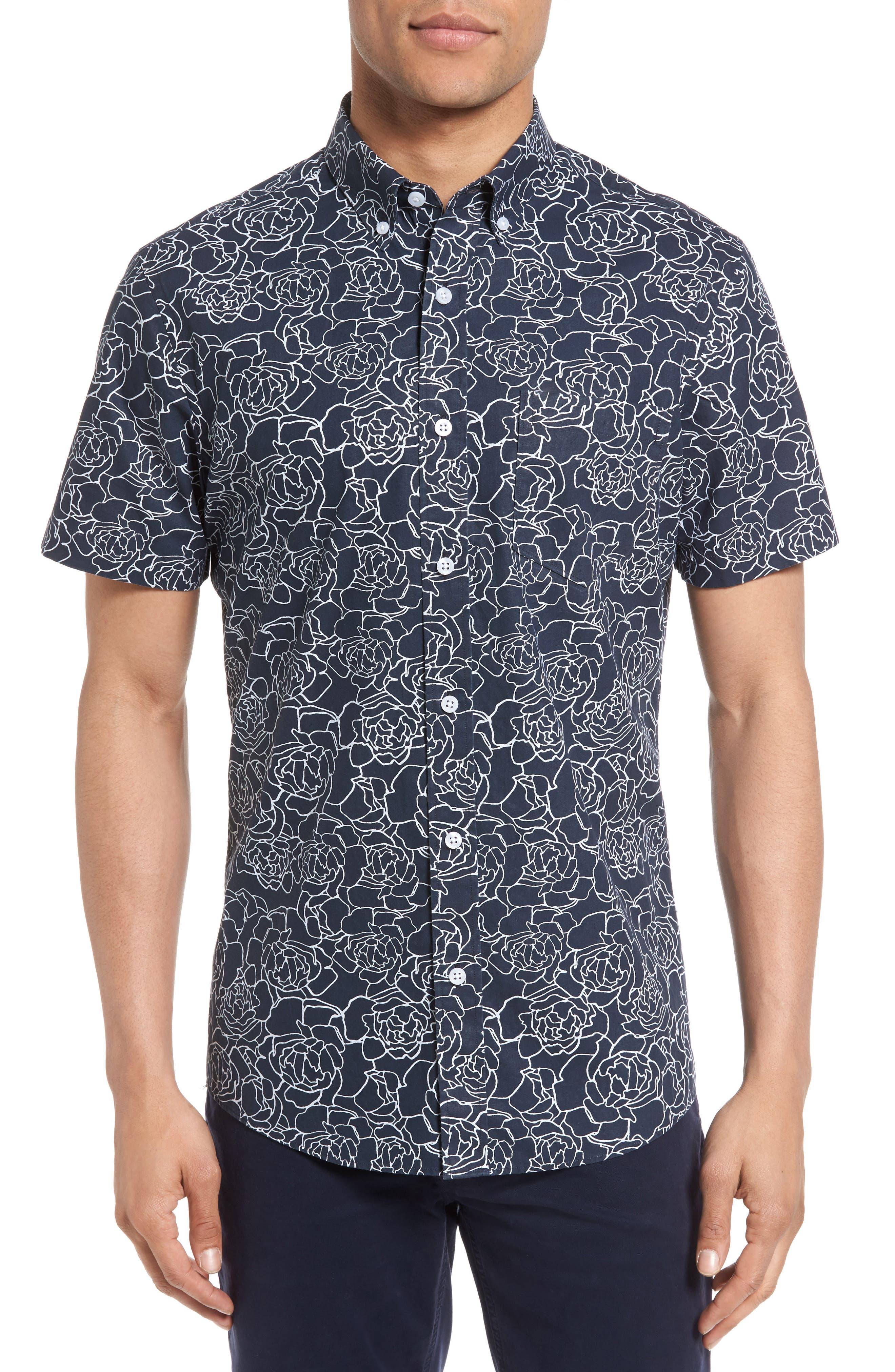 Nordstrom Men's Shop Slim Fit Rose Sport Shirt