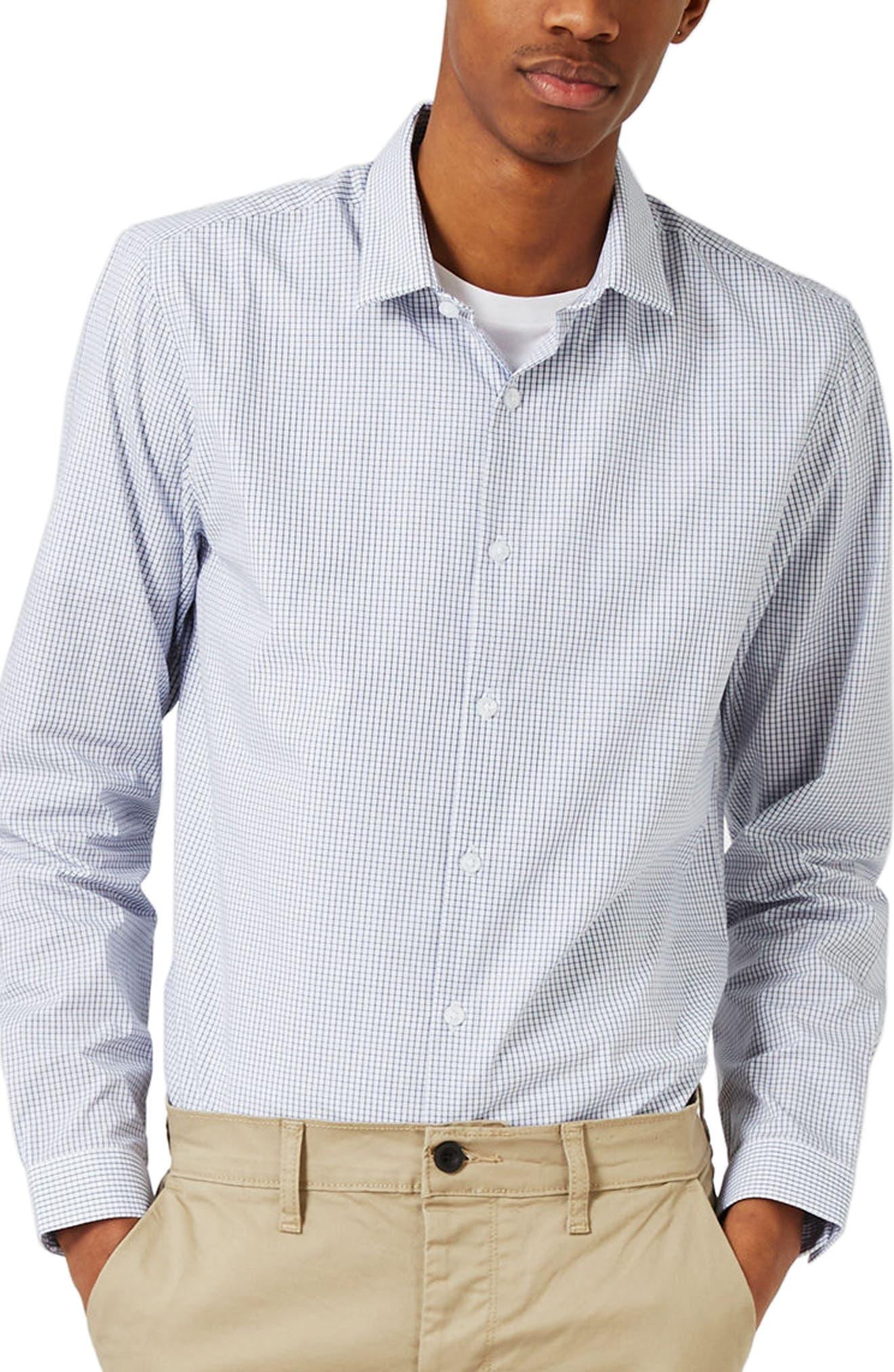 Slim Fit Grid Check Dress Shirt,                         Main,                         color, White/ Blue