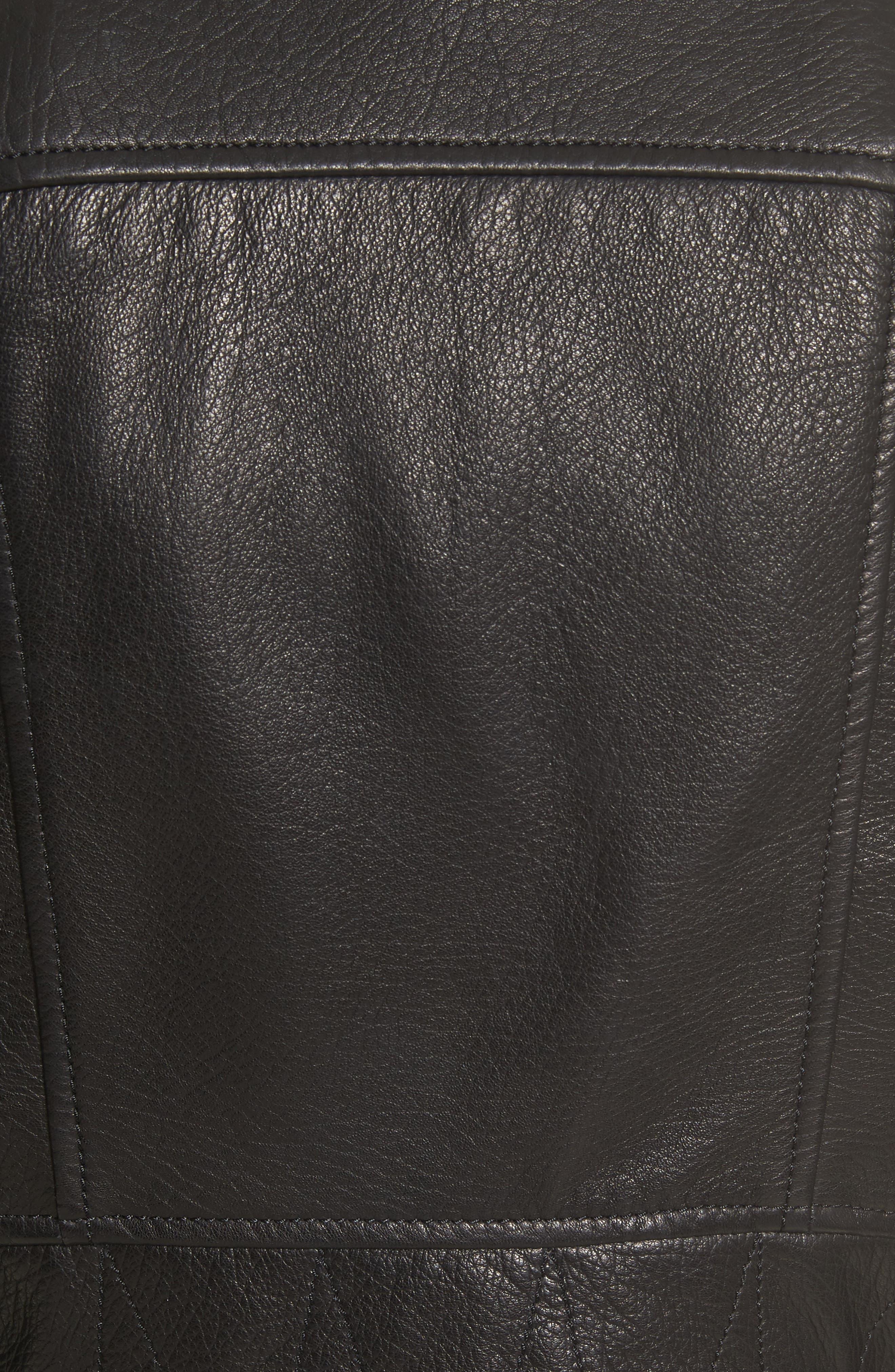 Lace-Up Lambskin Leather Jacket,                             Alternate thumbnail 6, color,                             Black