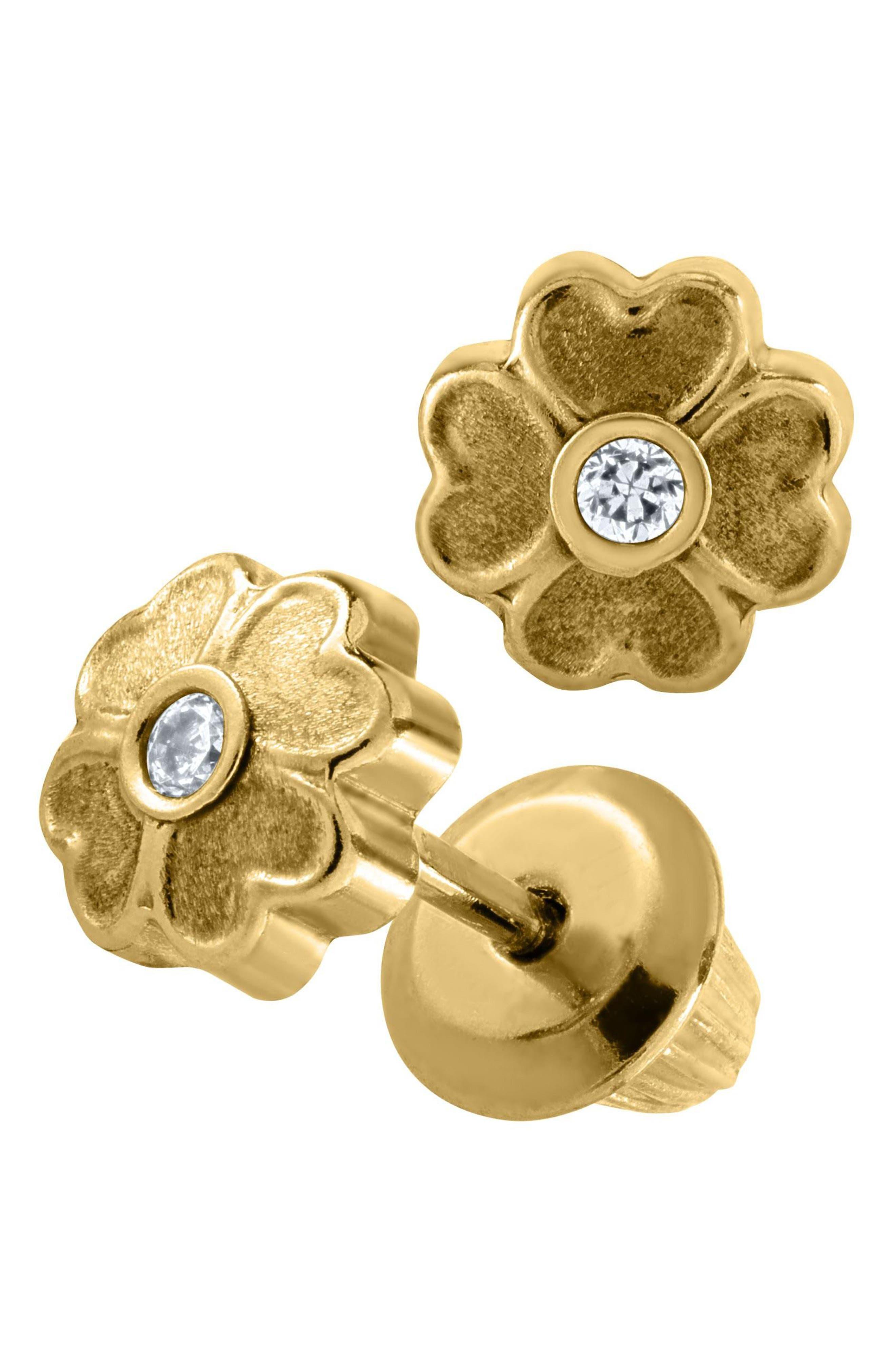 Alternate Image 2  - Mignonette 14k Gold Flower Earrings (Girls)