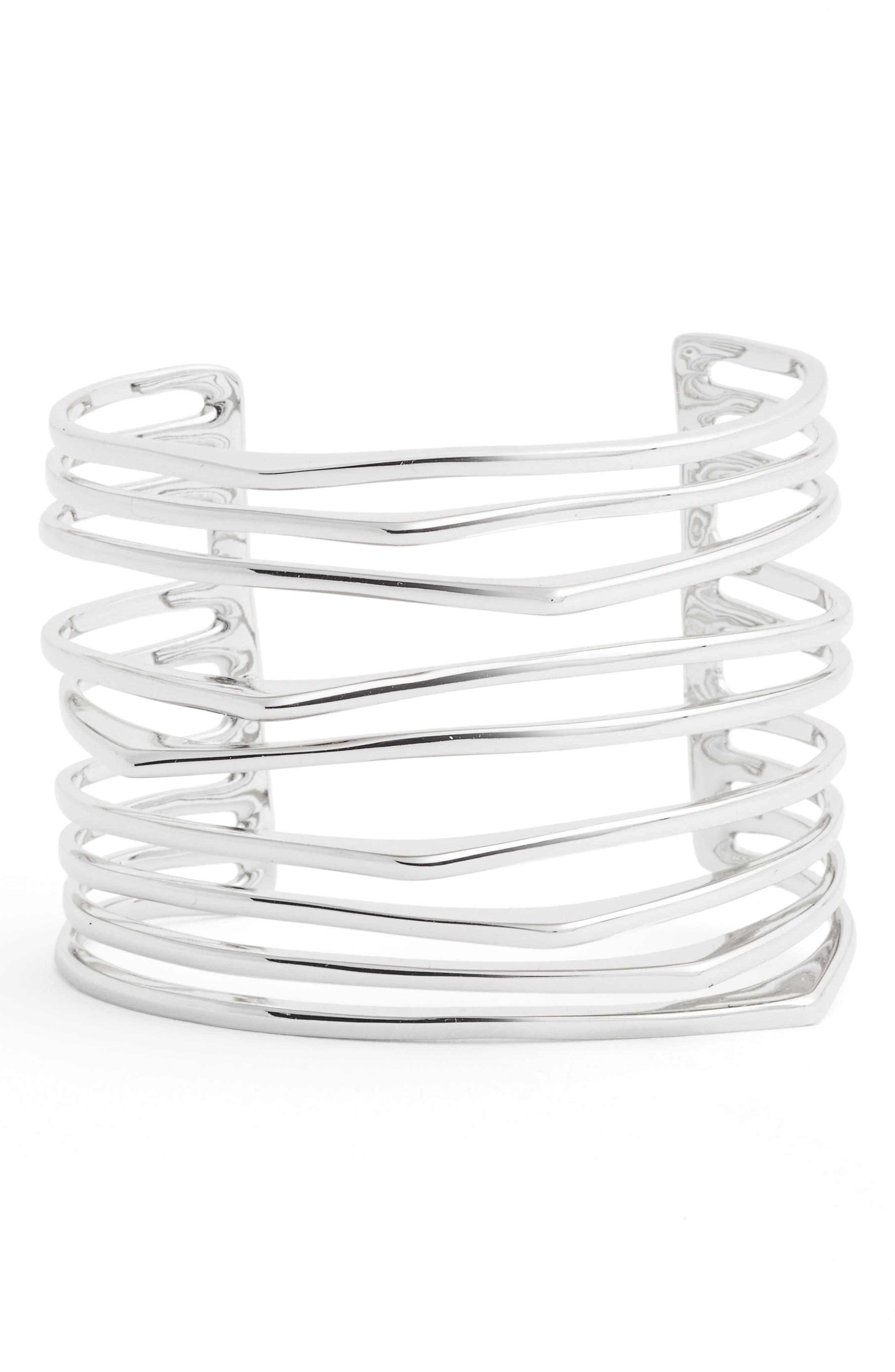Metal Wrist Cuff,                         Main,                         color, Silver