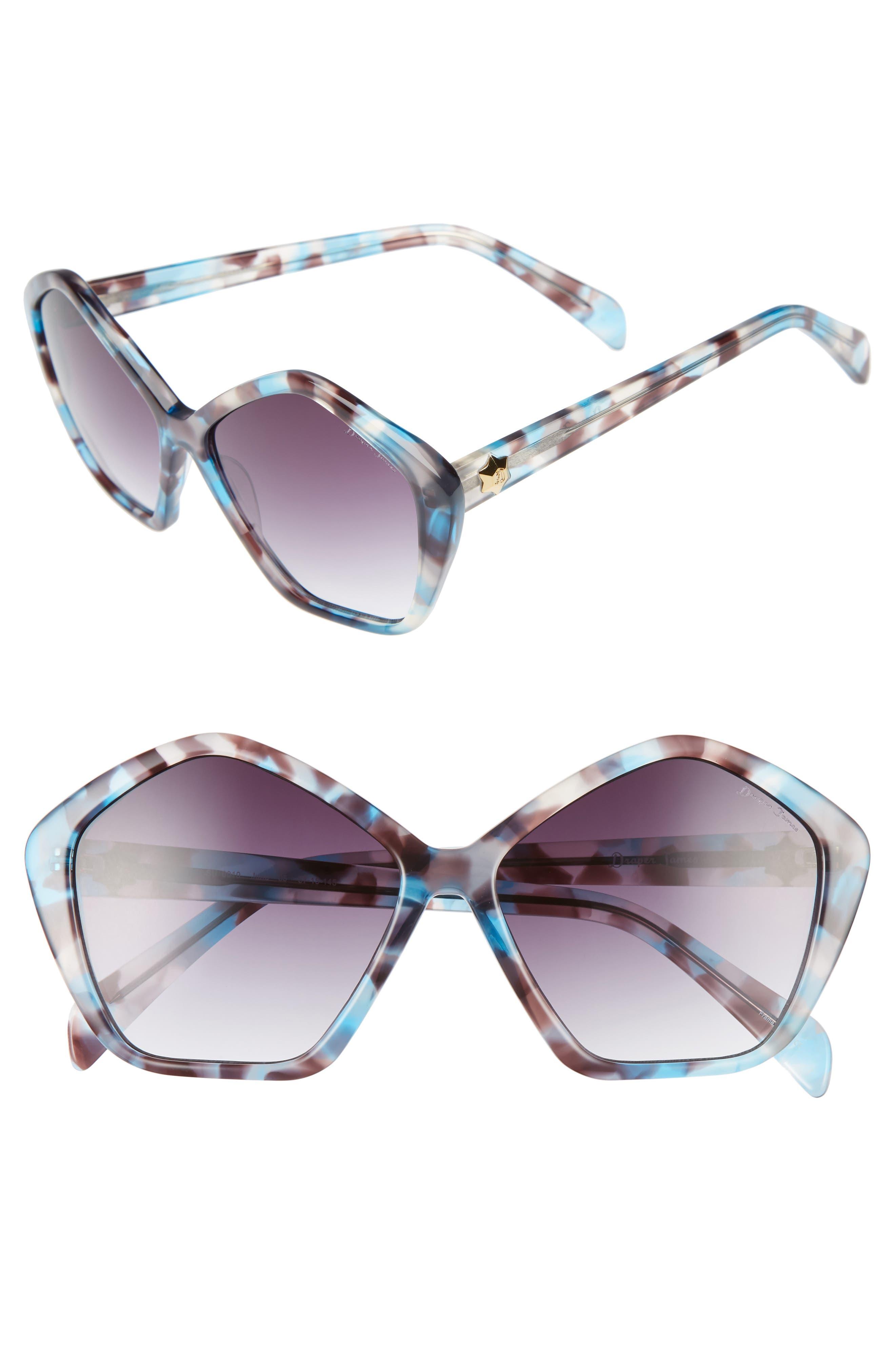DRAPER JAMES 57mm Gradient Lens Geometric Sunglasses