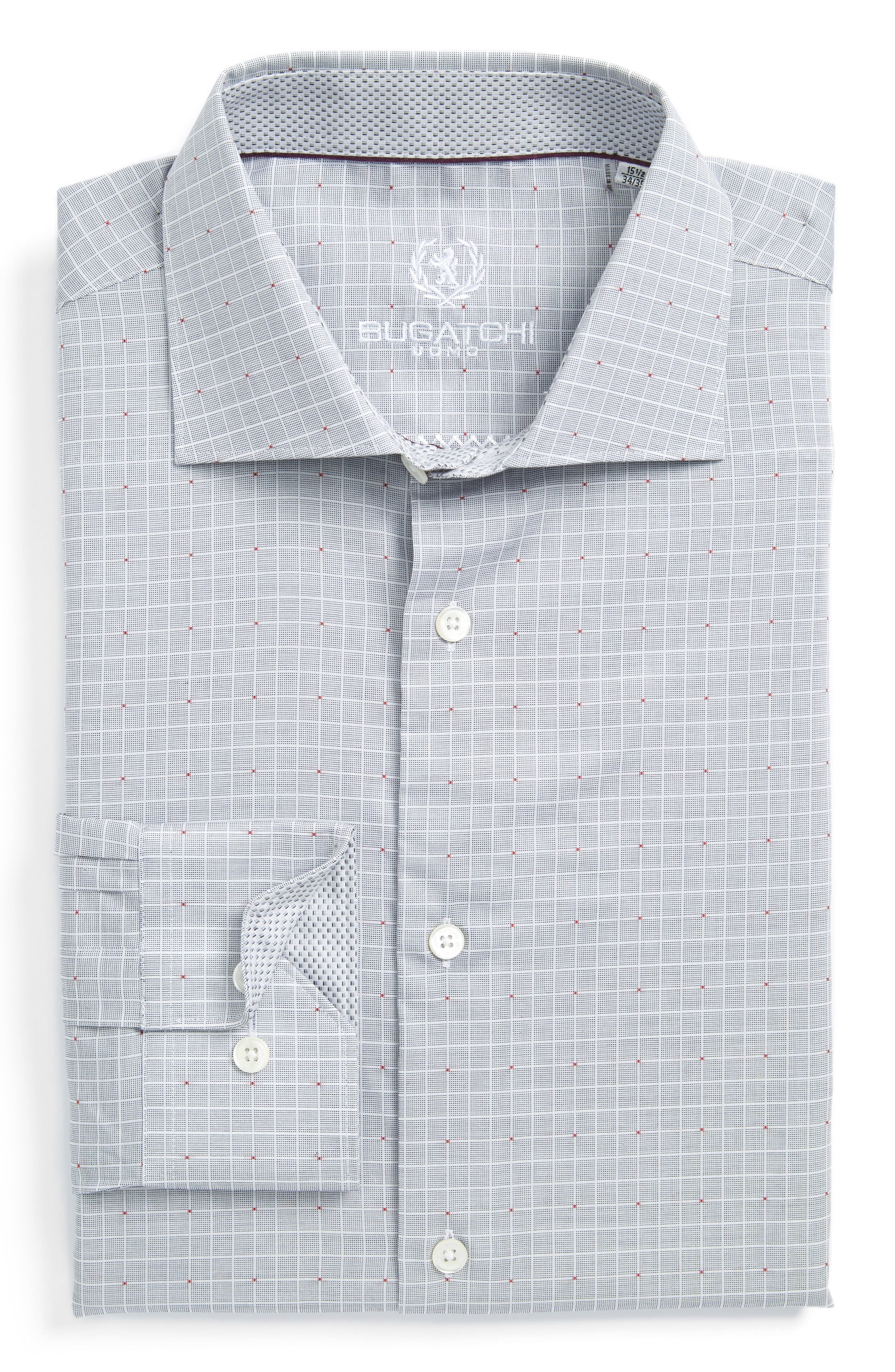Trim Fit Check Dress Shirt,                             Main thumbnail 1, color,                             Platinum