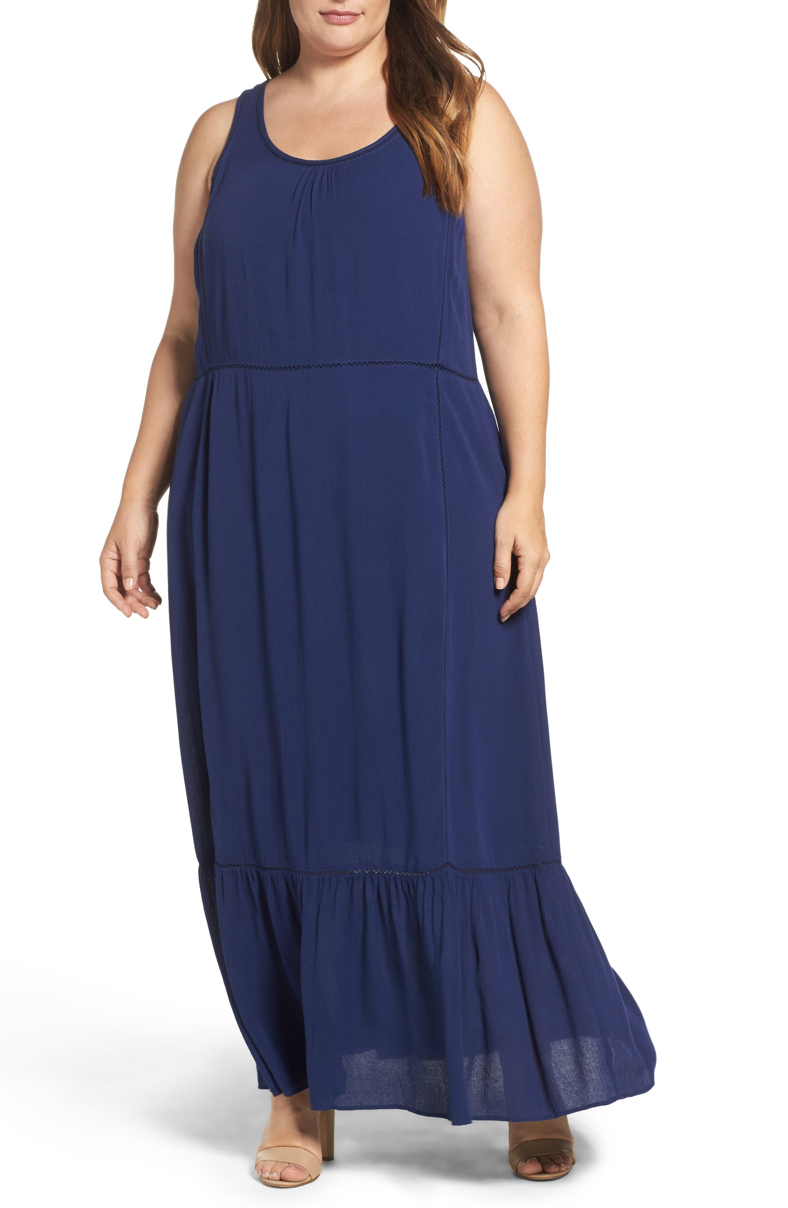Sejour Flounce Hem Maxi Dress (Plus Size)