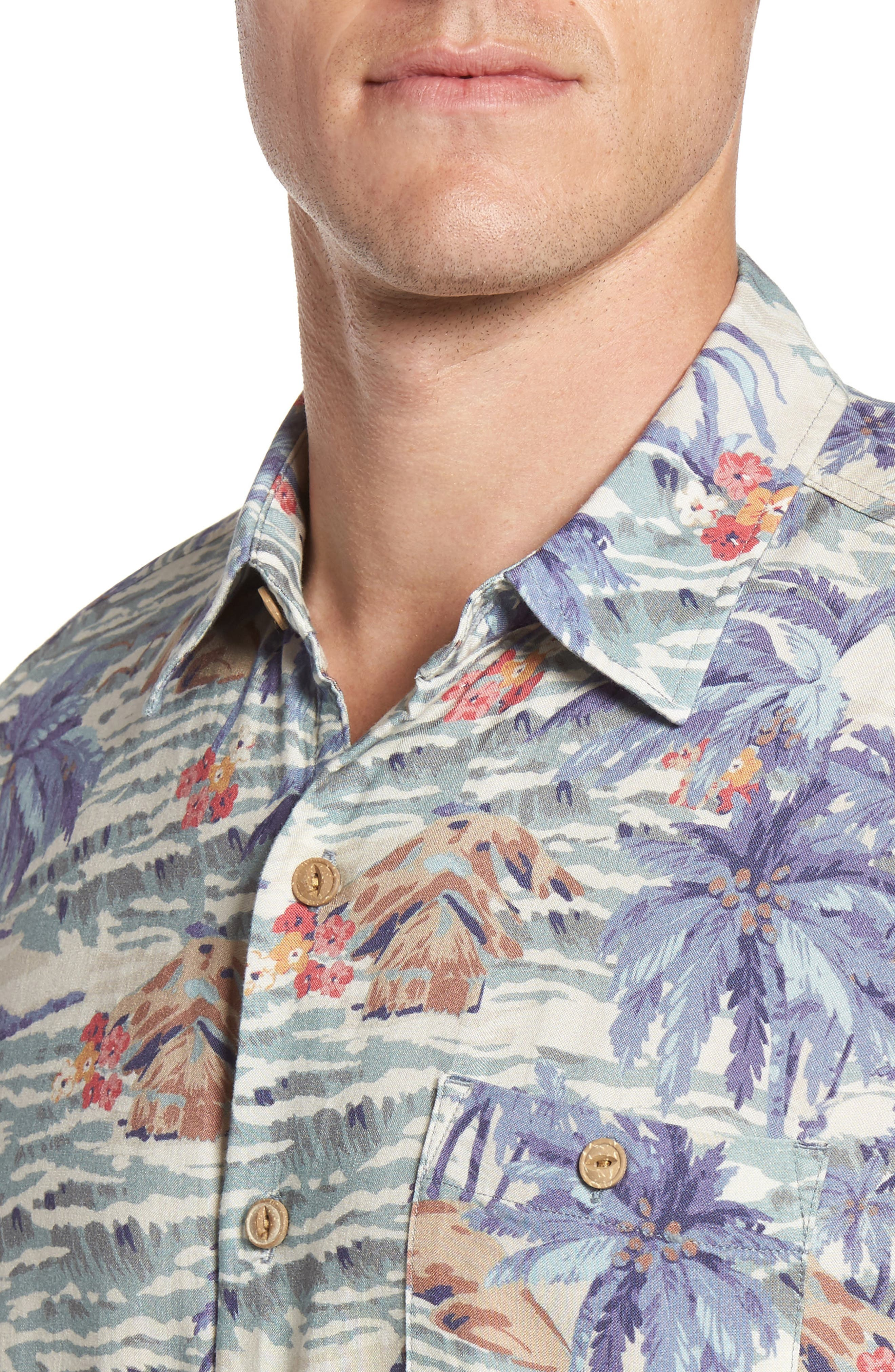 Hawaiian Print Rayon Shirt,                             Alternate thumbnail 4, color,                             Tahitian Dreams