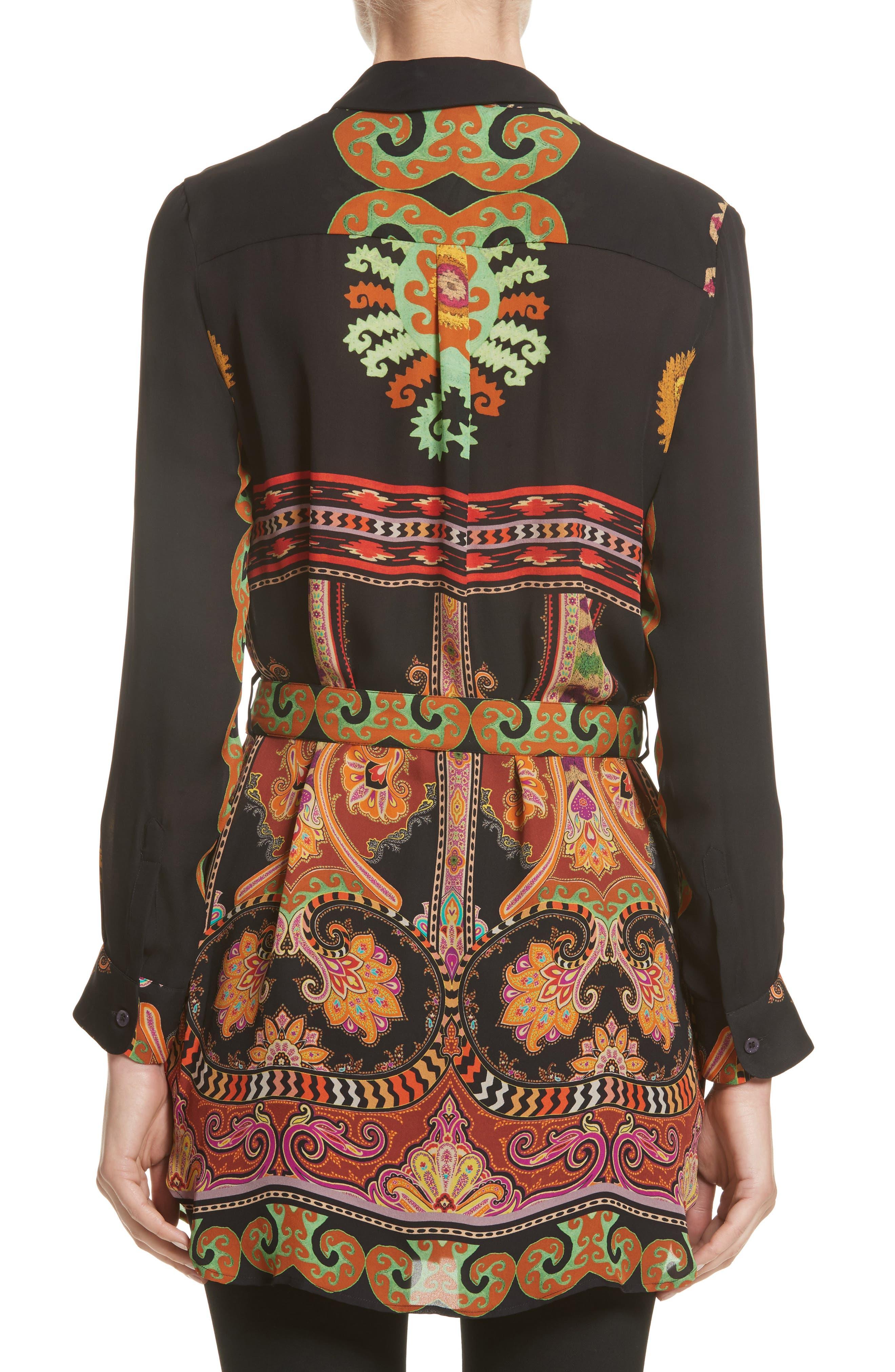Suzani Print Silk Tunic,                             Alternate thumbnail 2, color,                             Black
