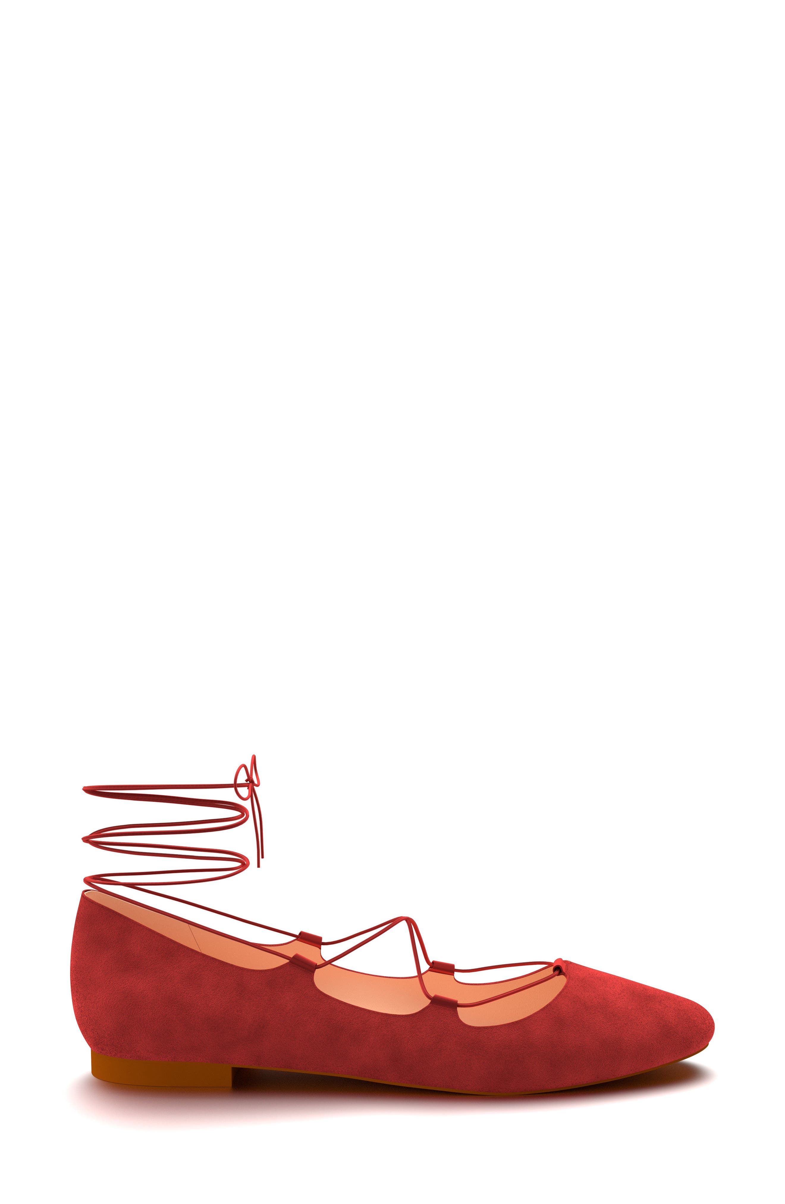 Ghillie Ballet Flat,                             Alternate thumbnail 2, color,                             Dark Red Suede