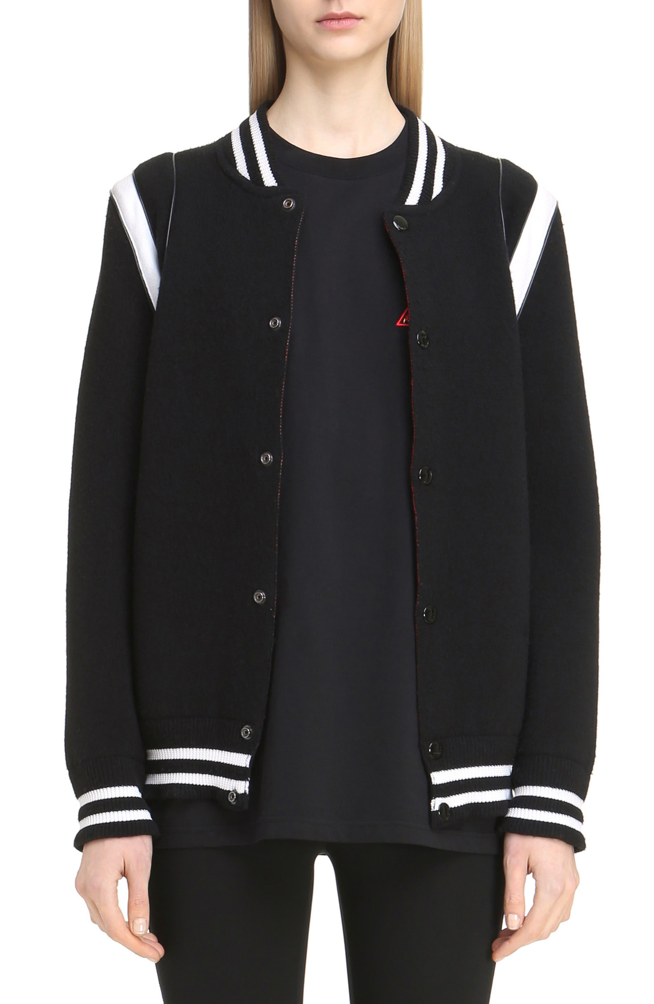 Contrast Knit Trim Logo Bomber Jacket,                         Main,                         color, Black