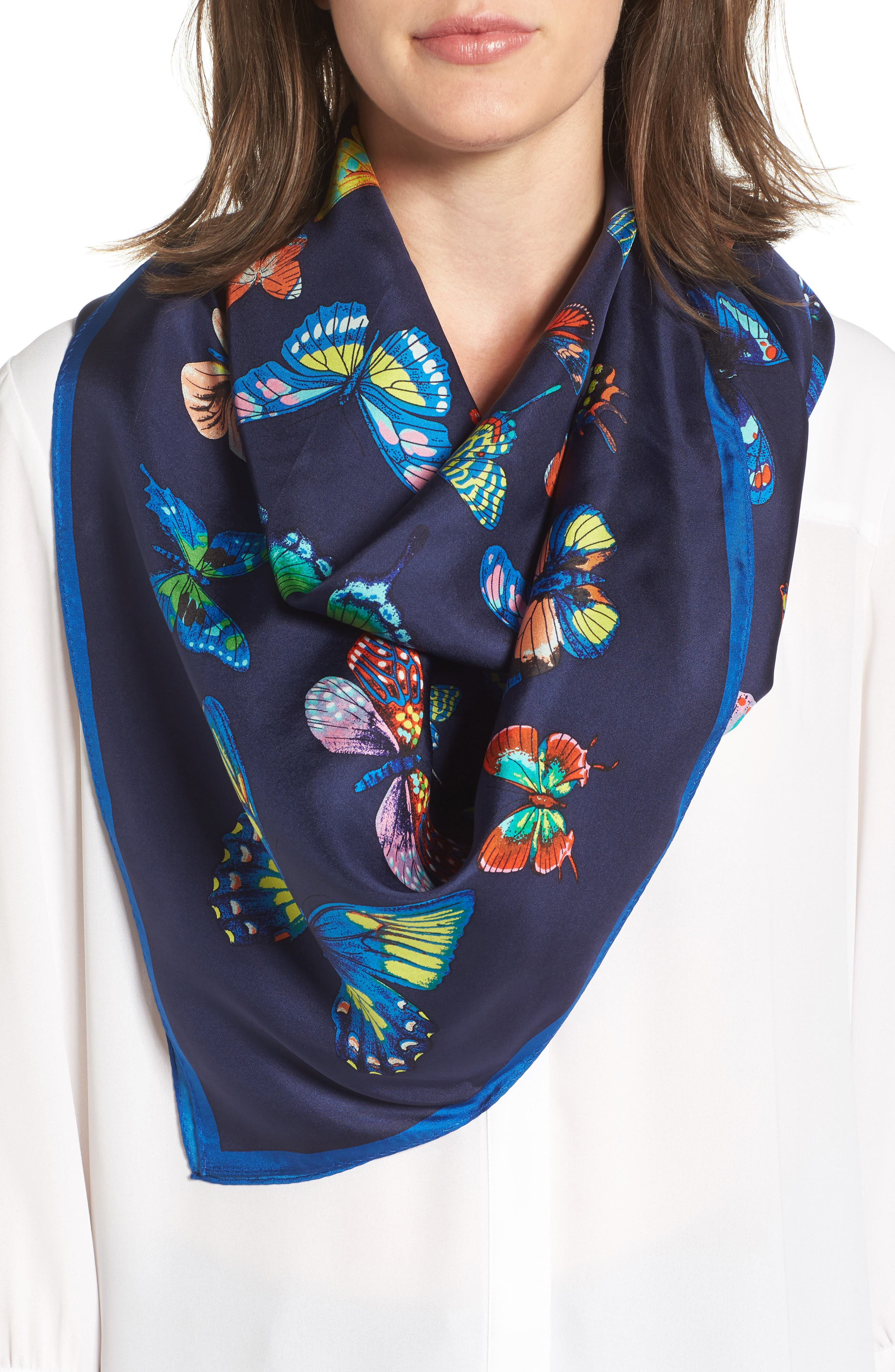 ECHO Butterfly Print Silk Square Scarf