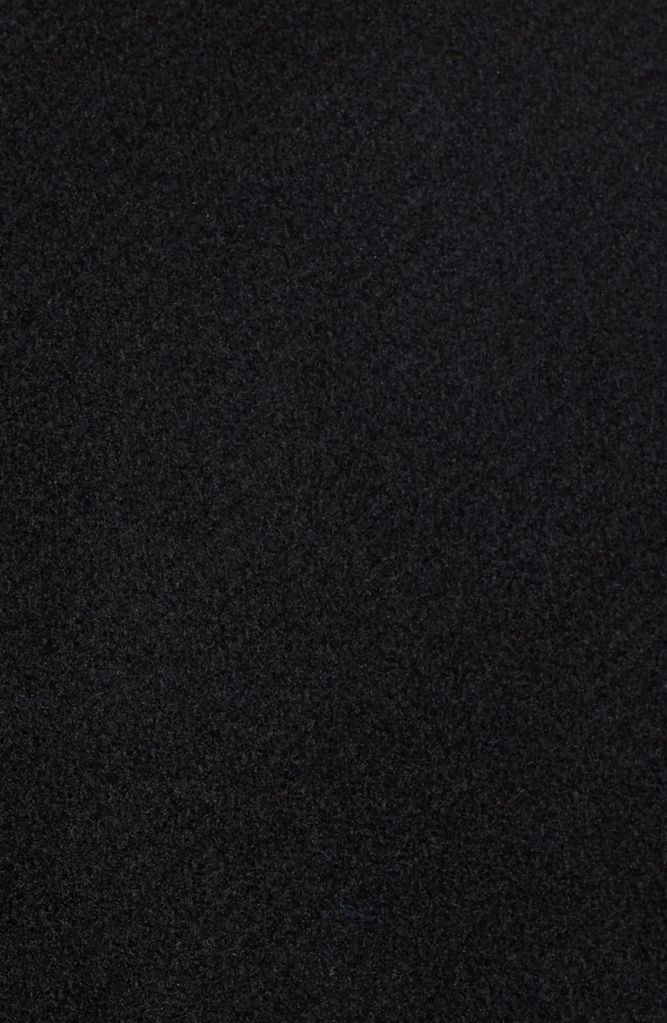 Eleanor Leather Trim Wool Blend Coat,                             Alternate thumbnail 5, color,                             Black/ Navy