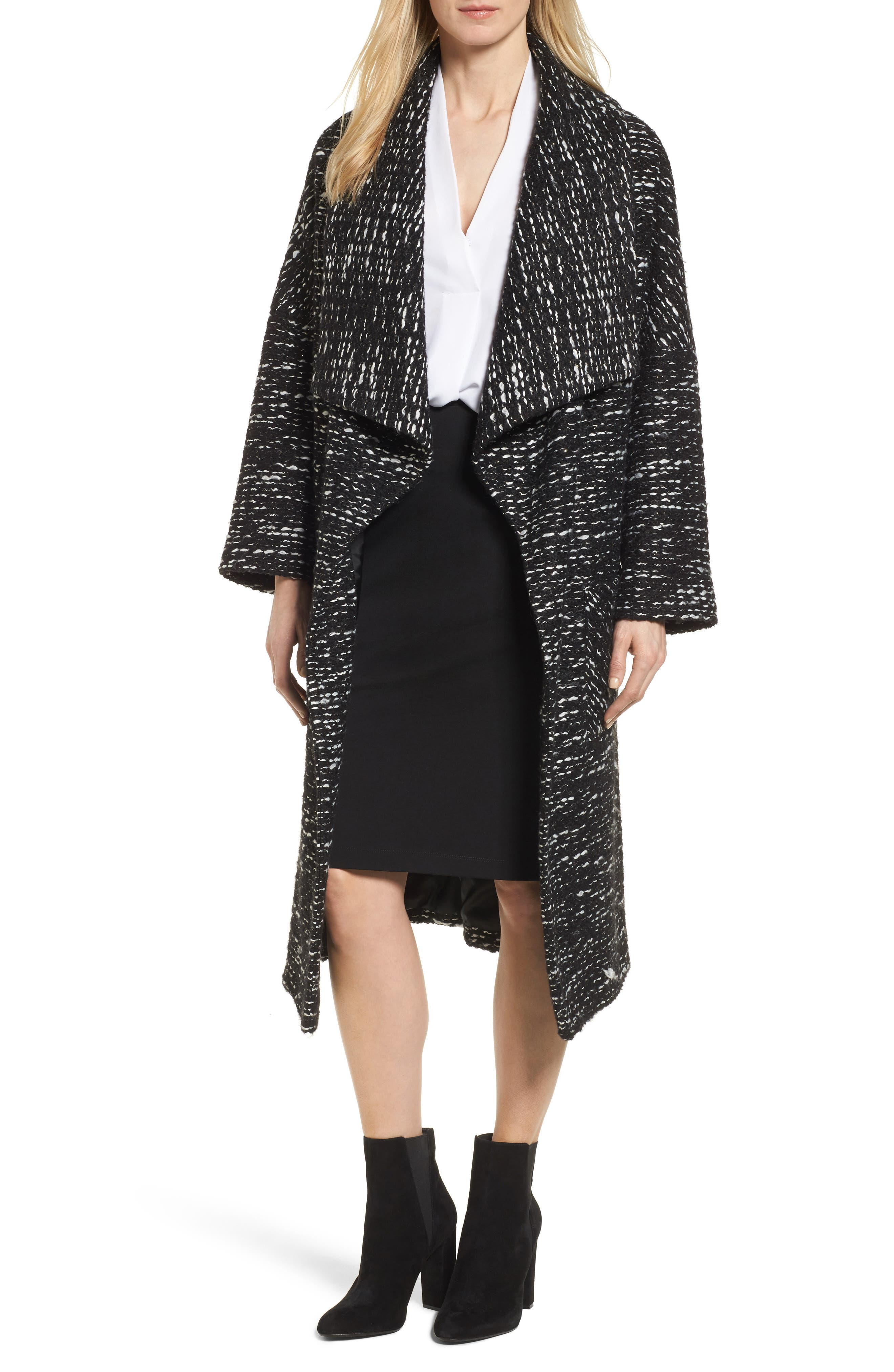 Charles Gray London Drape Front Long Clutch Coat
